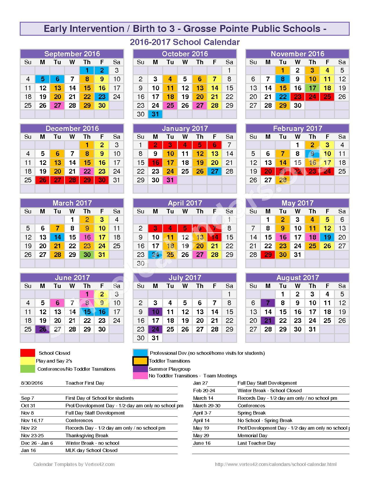 2016 - 2017 District Calendar – Grosse Pointe Public Schools – page 1