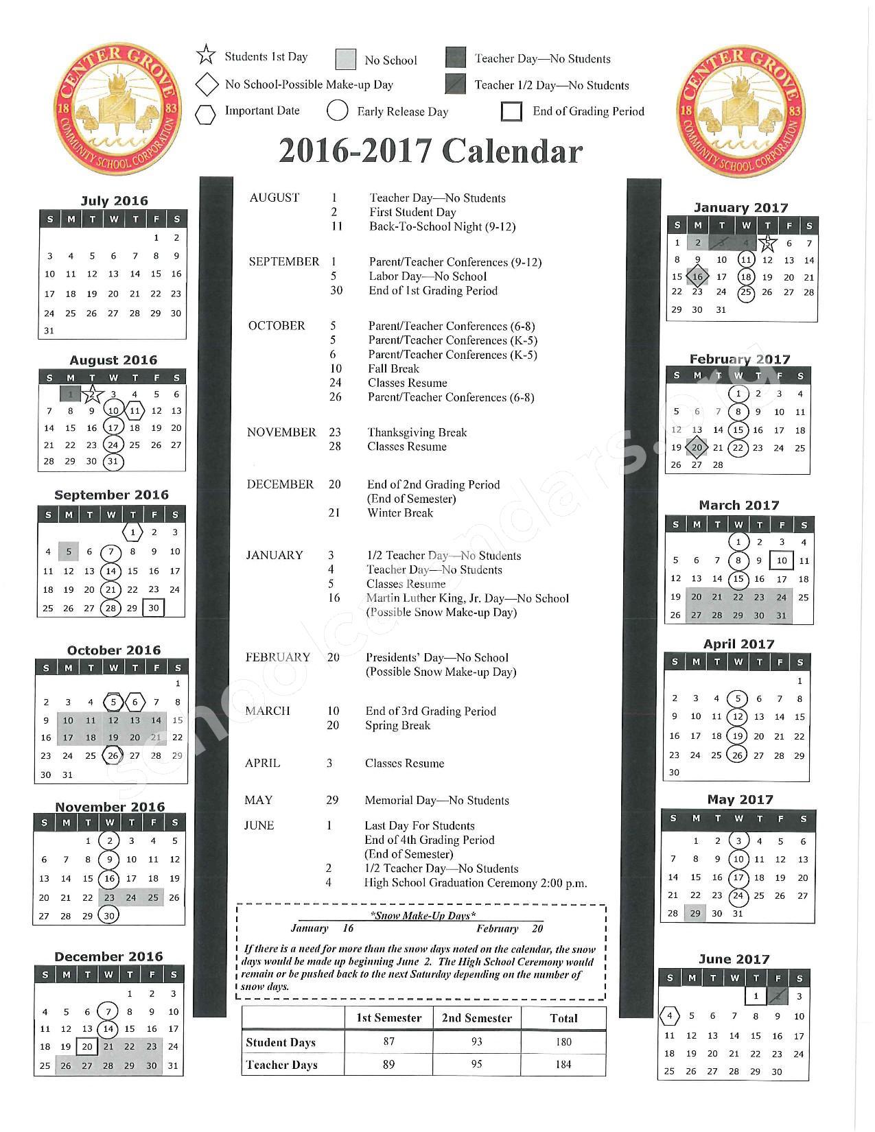 2016 2017 School Calendar North Grove Elementary School Greenwood In