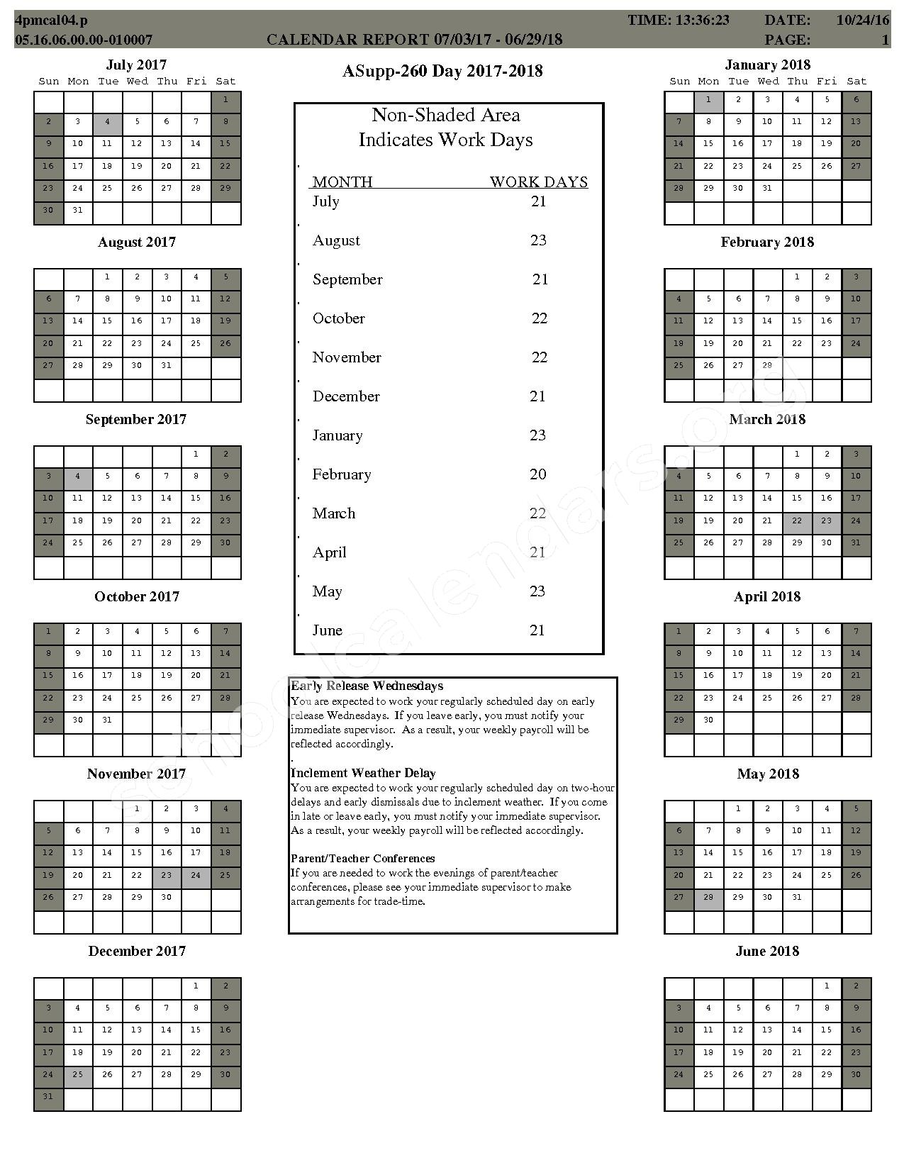 2017 - 2018 School Calendar – Center Grove Community School Corporation – page 9