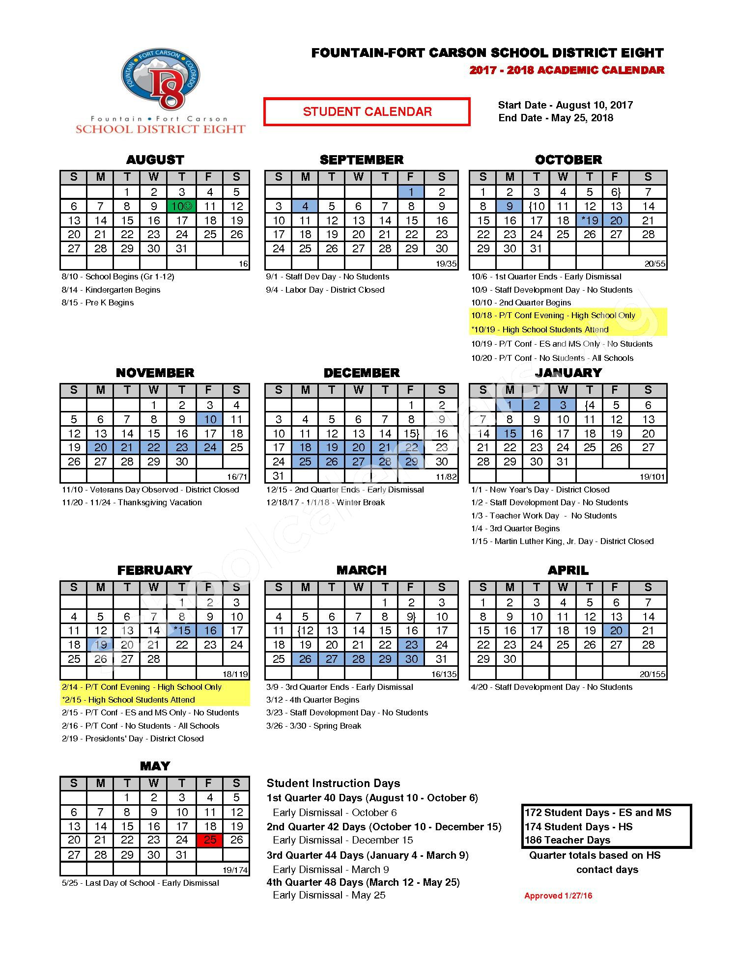2017 - 2018 District Calendar – Fountain-Fort Carson School District 8 – page 1