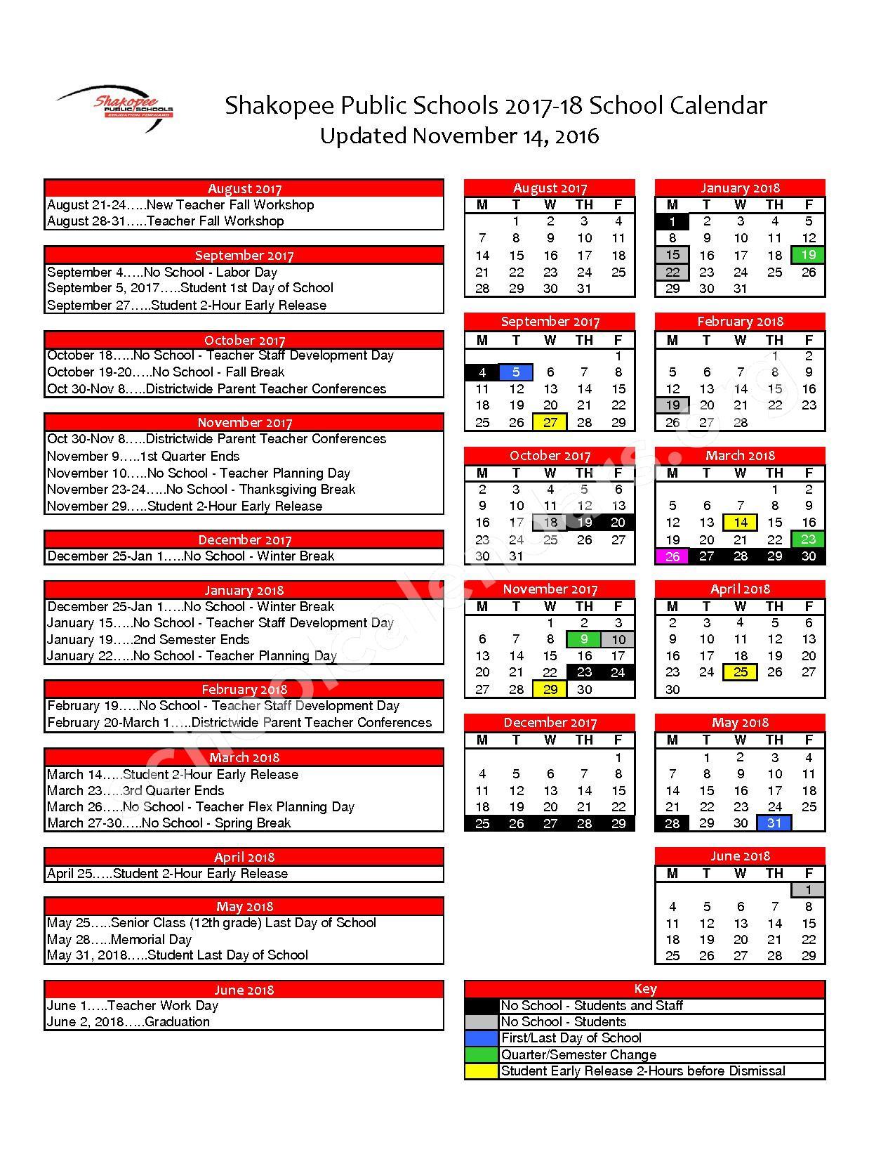 2017 - 2018 District Calendar – Shakopee Public School District – page 1