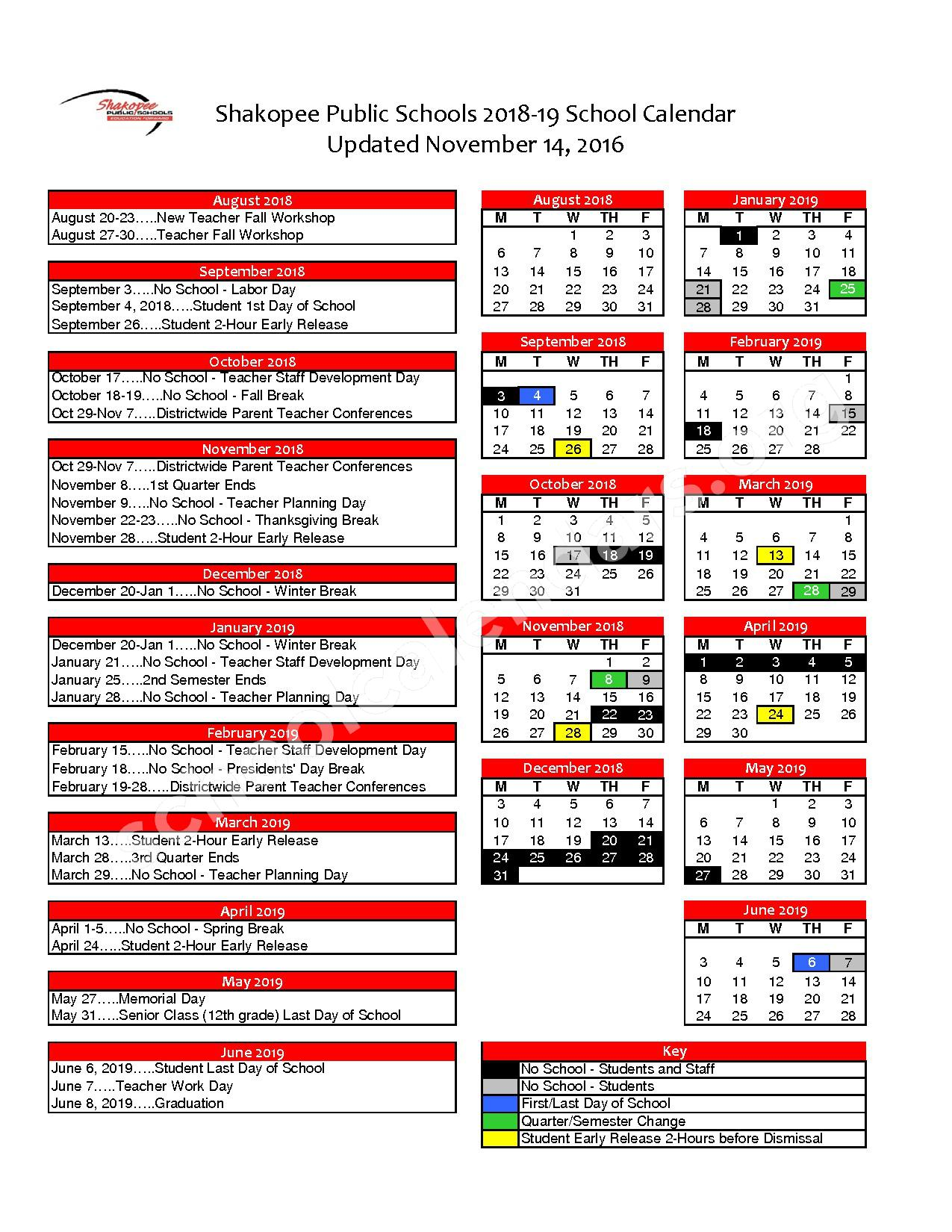2018 - 2019 District Calendar – Shakopee Public School District – page 1