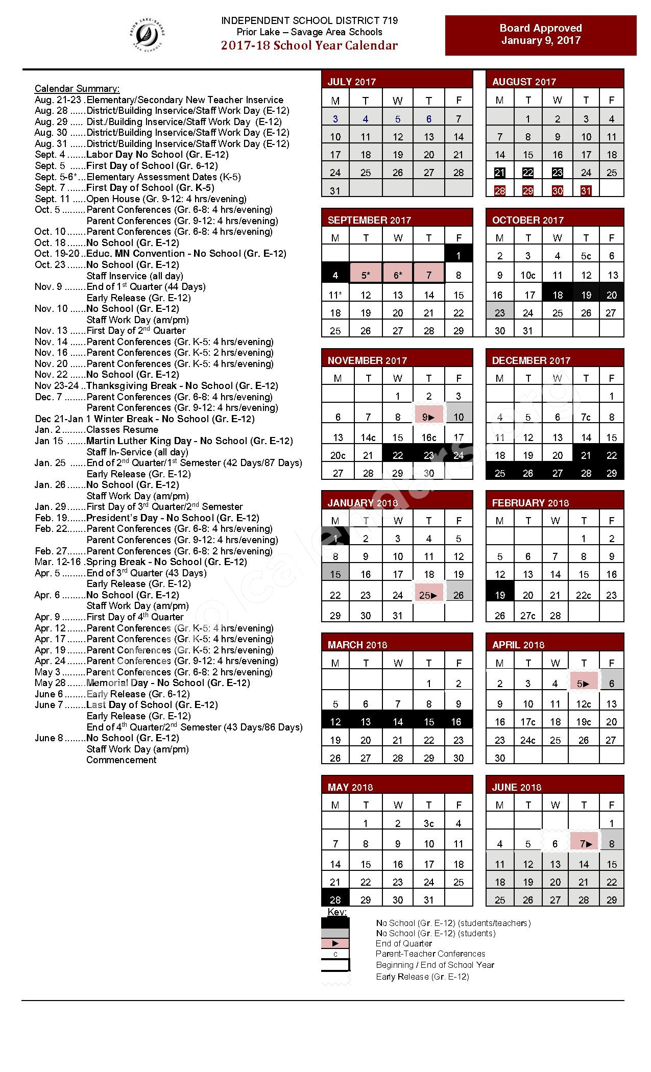 2017 - 2018 School Calendar – Prior Lake-Savage Area Schools – page 1