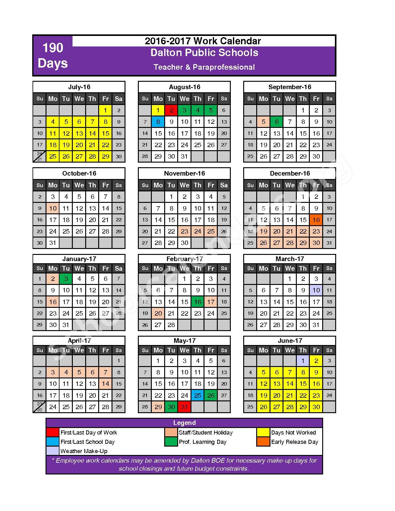 2016 - 2017 School Calendar – Dalton Public Schools – page 1