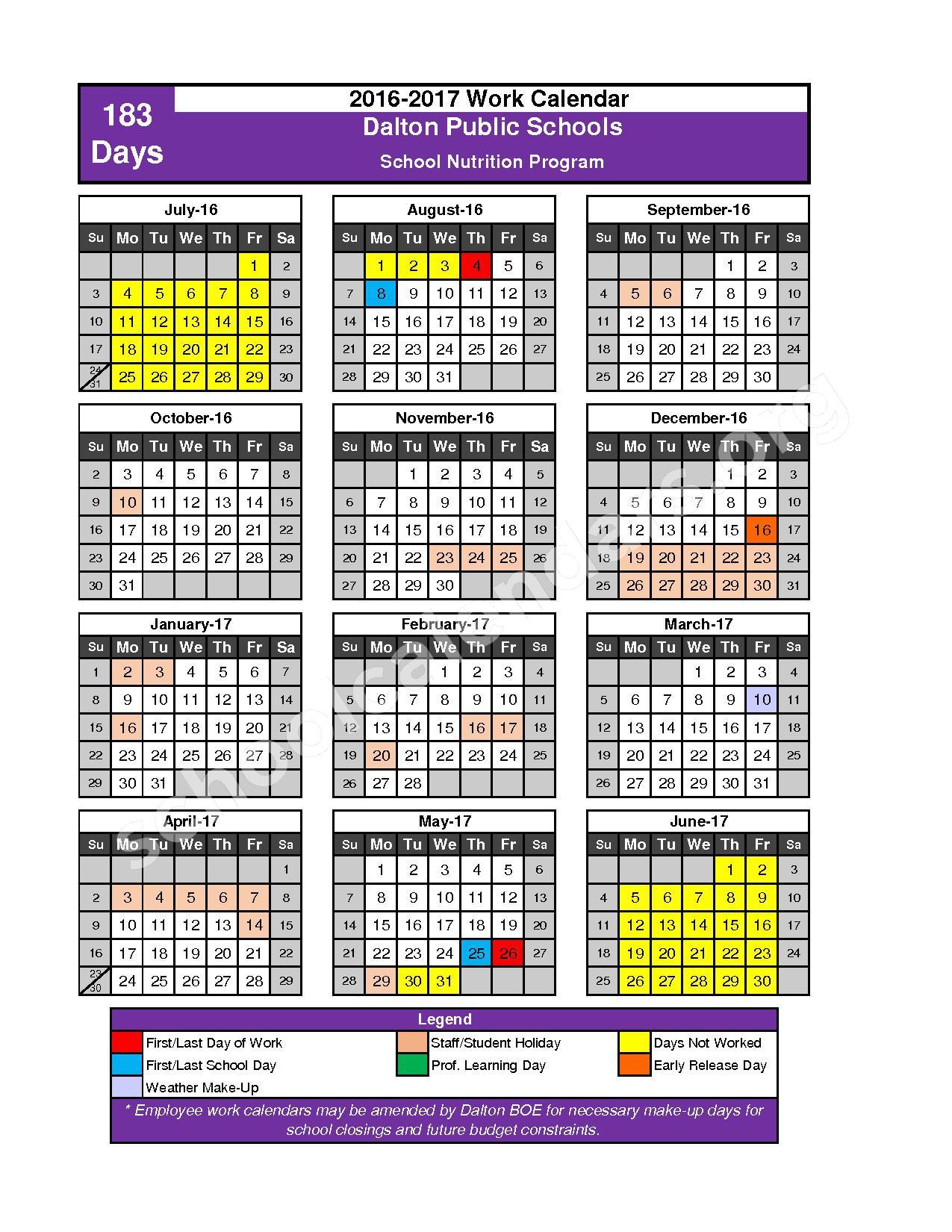 2016 - 2017 School Calendar – Dalton Public Schools – page 2