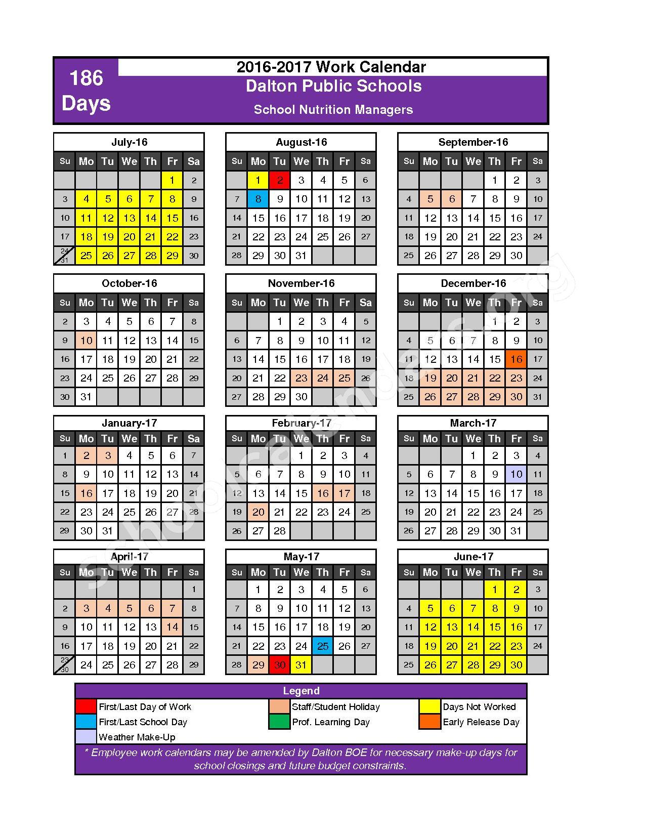 2016 - 2017 School Calendar – Dalton Public Schools – page 3