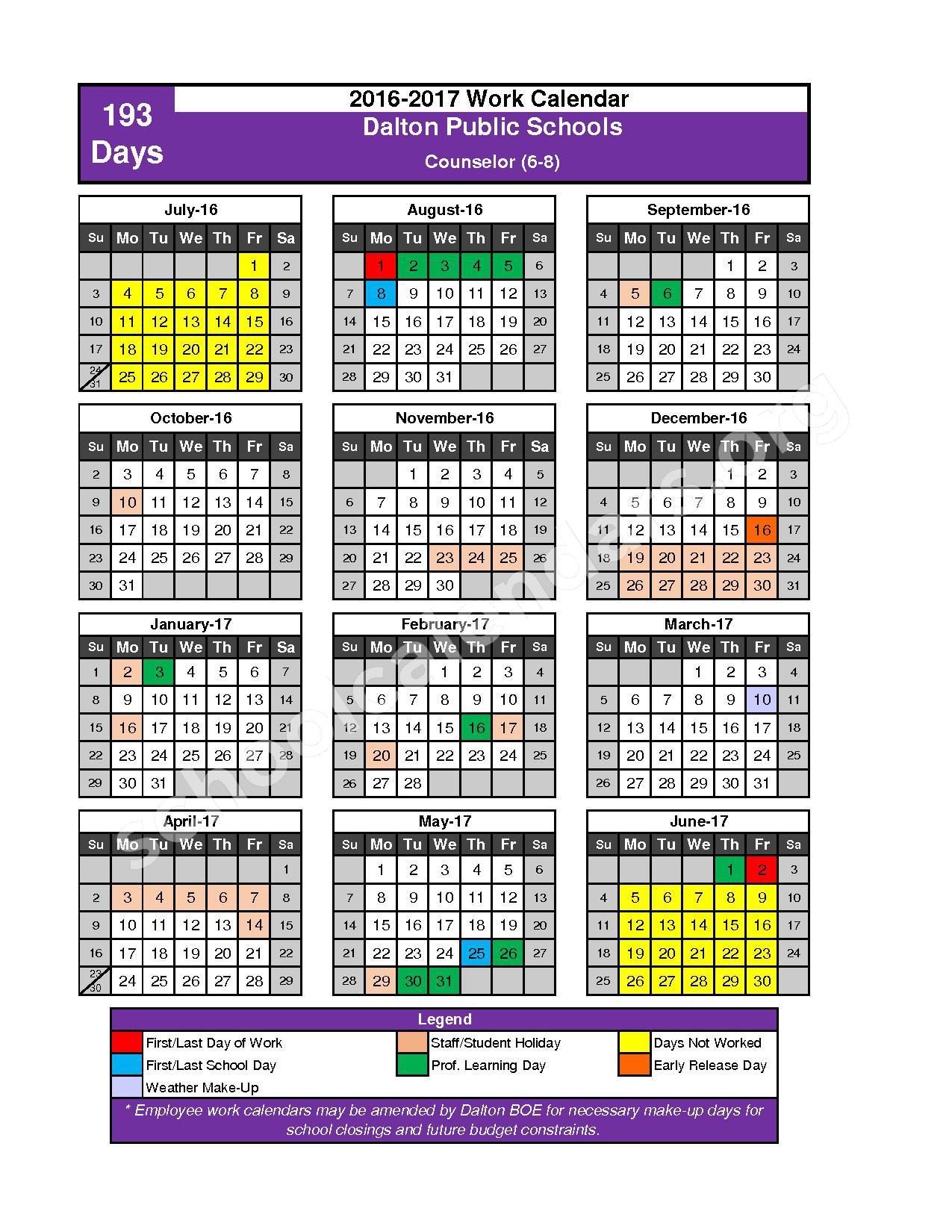 2016 - 2017 School Calendar – Dalton Public Schools – page 4