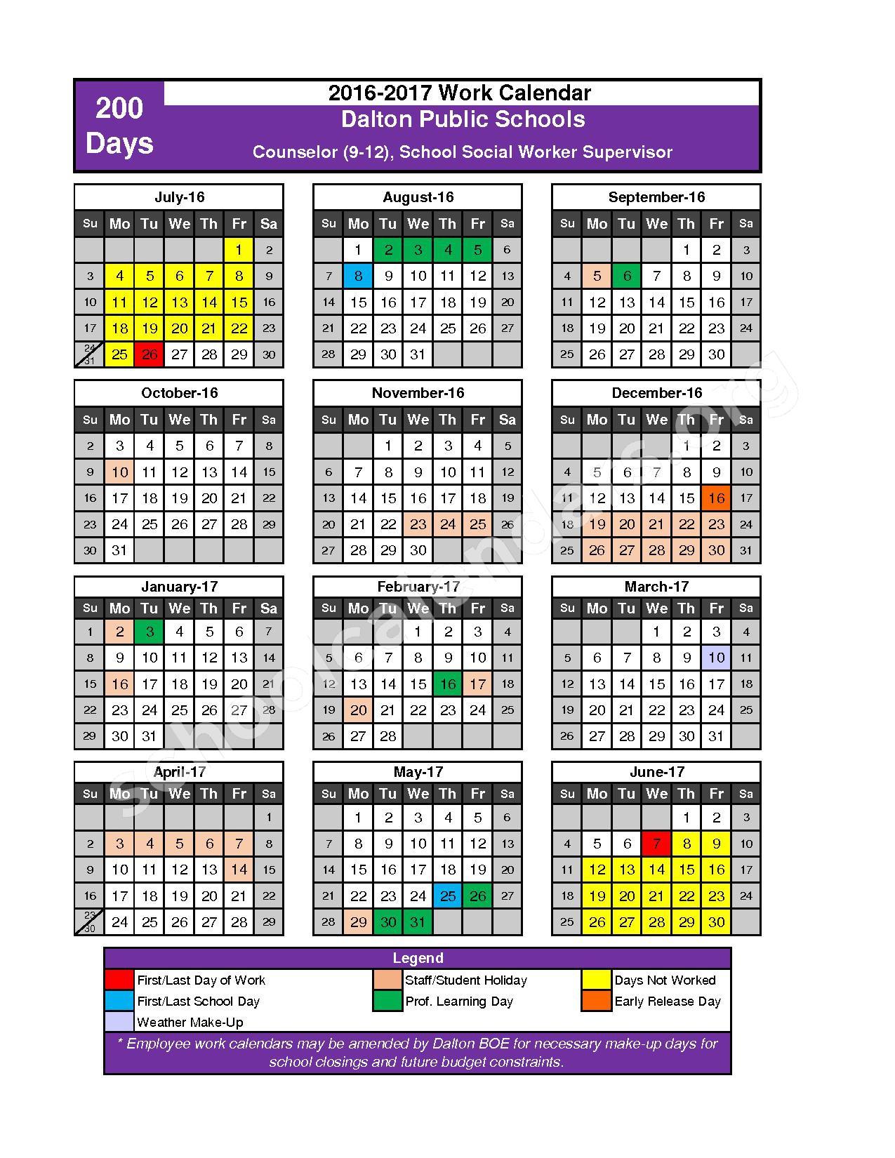 2016 - 2017 School Calendar – Dalton Public Schools – page 5