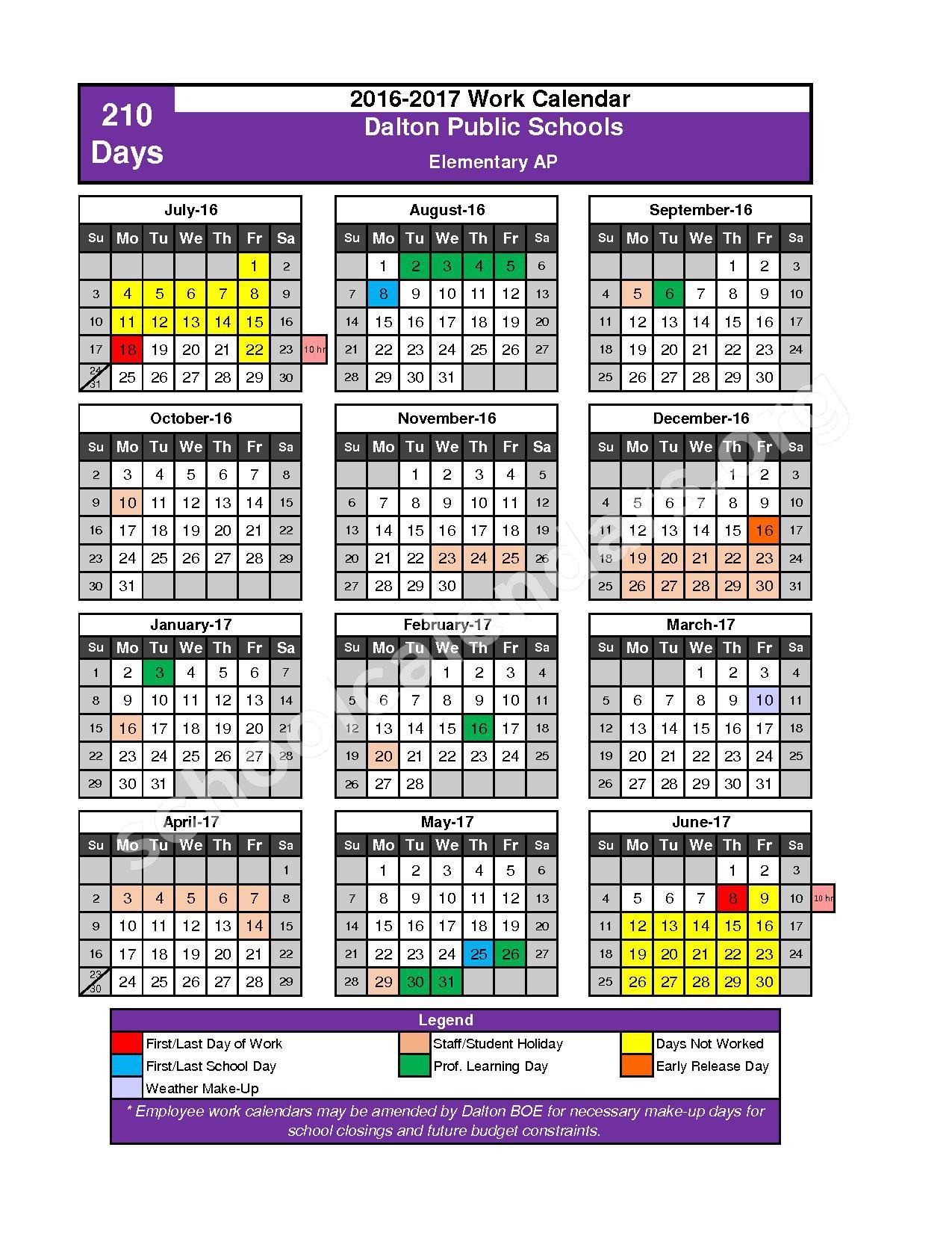 2016 - 2017 School Calendar – Dalton Public Schools – page 7