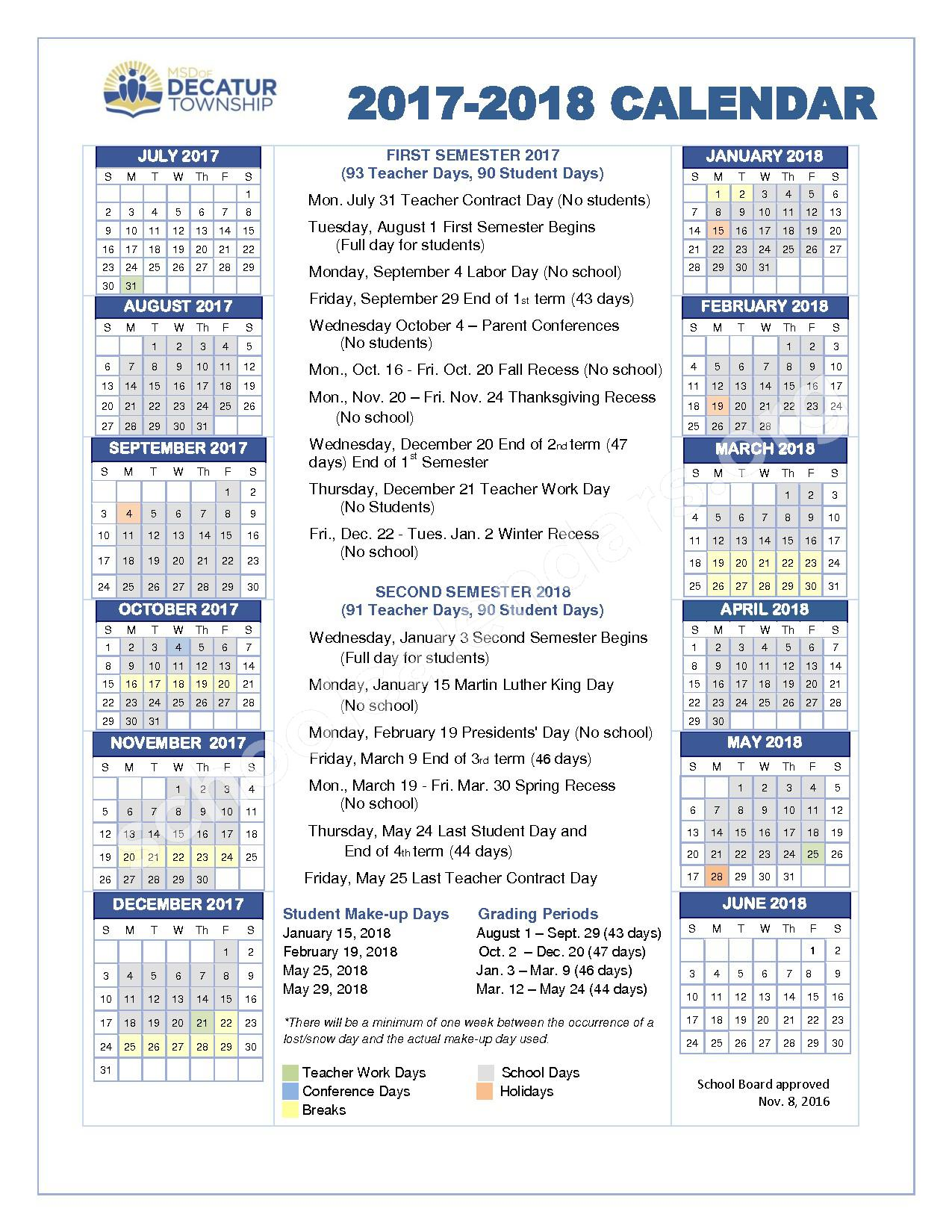 2017 - 2018 School Calendar (PDF) – Metropolitan School District Decatur Township – page 1