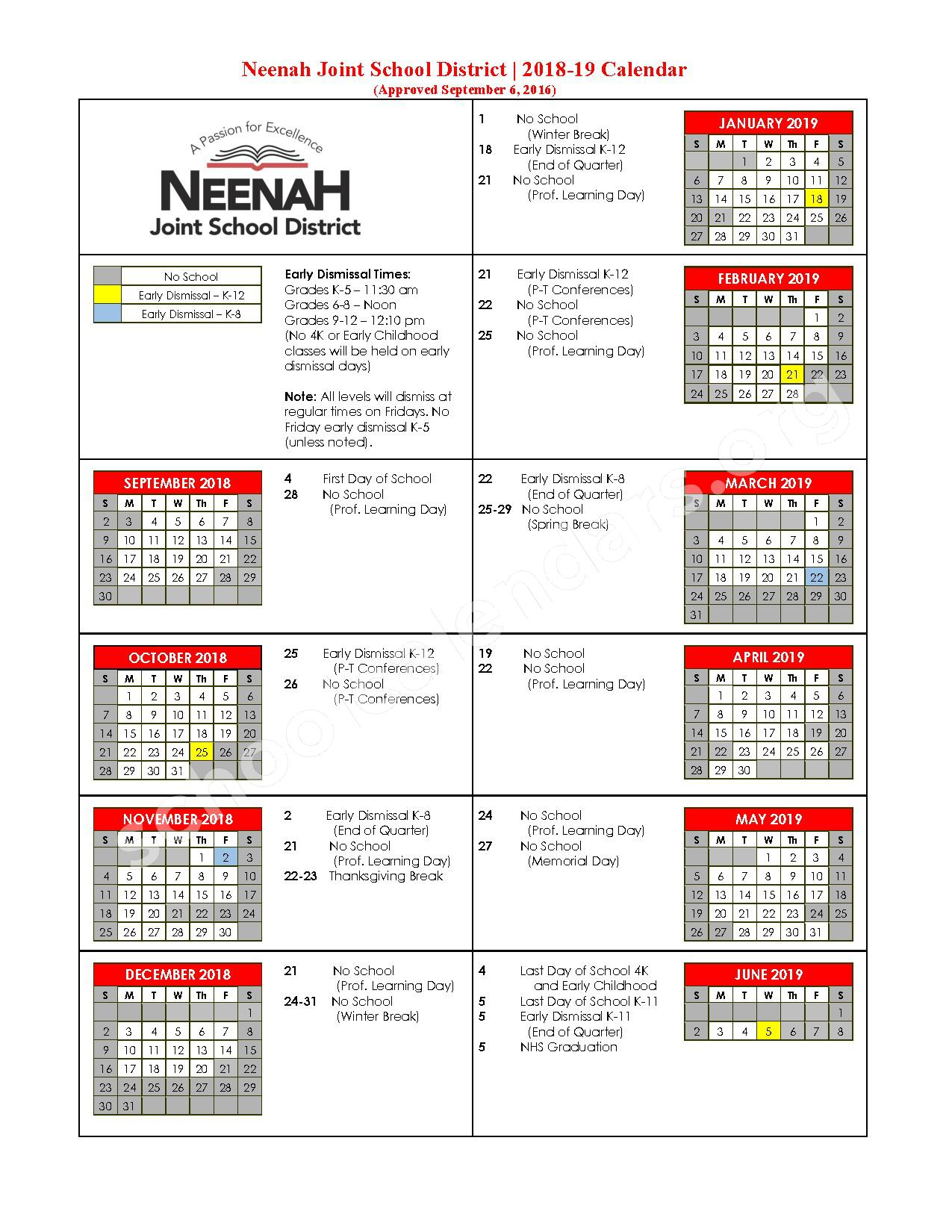 2018 - 2019 School Calendar – Neenah Joint School District – page 1