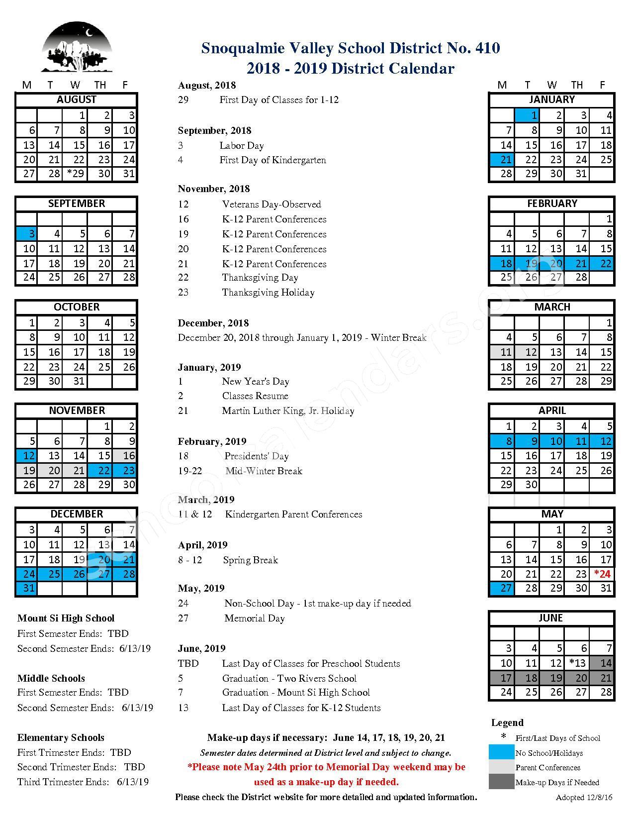 2018 - 2019 District Calendar – Snoqualmie Valley School District – page 1