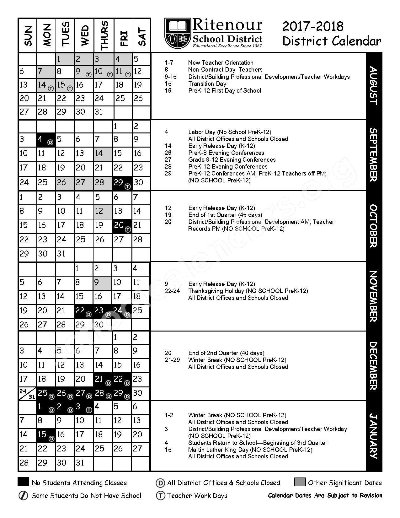 2017 - 2018 District Calendar – Ritenour School District – page 1