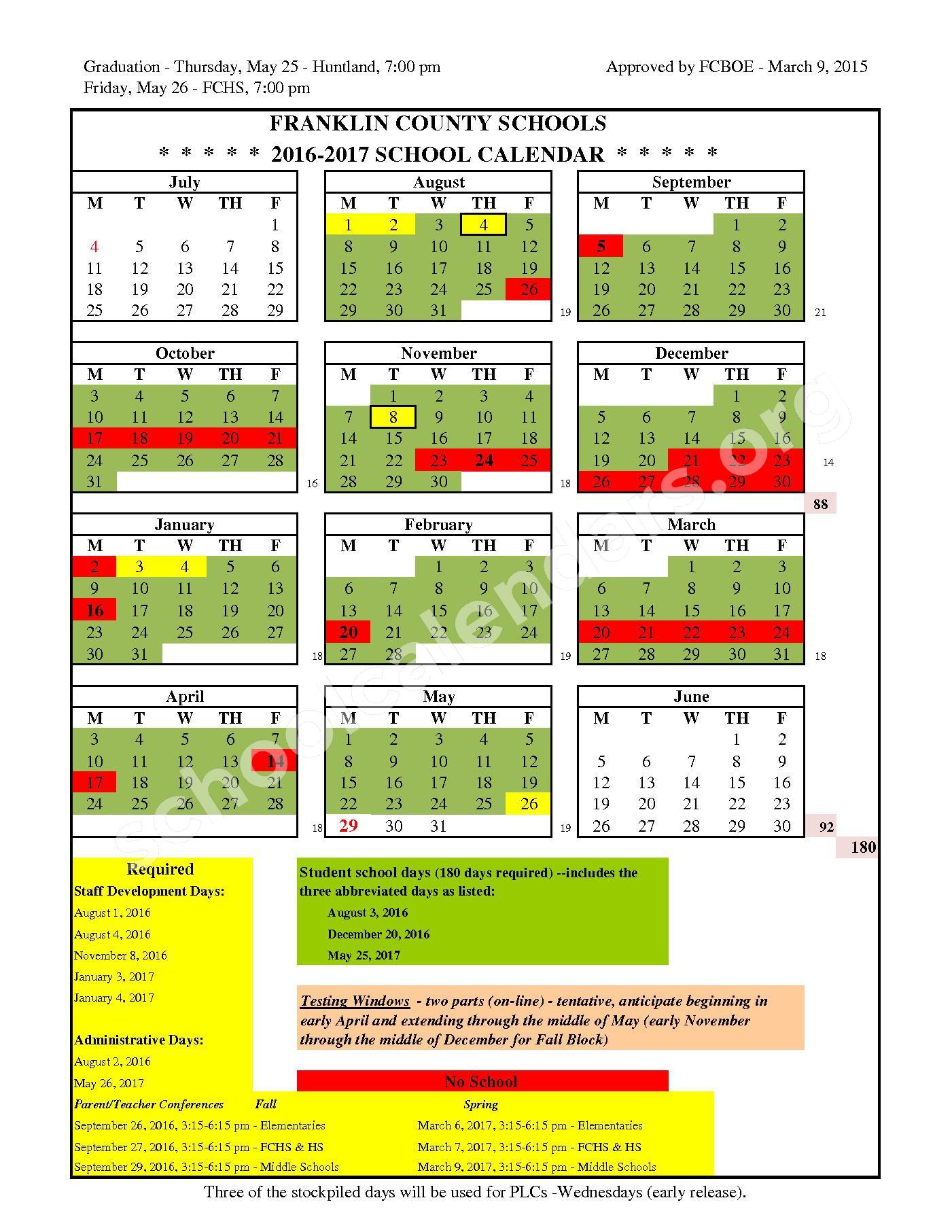 Franklin County Schools Calendars – Winchester TN