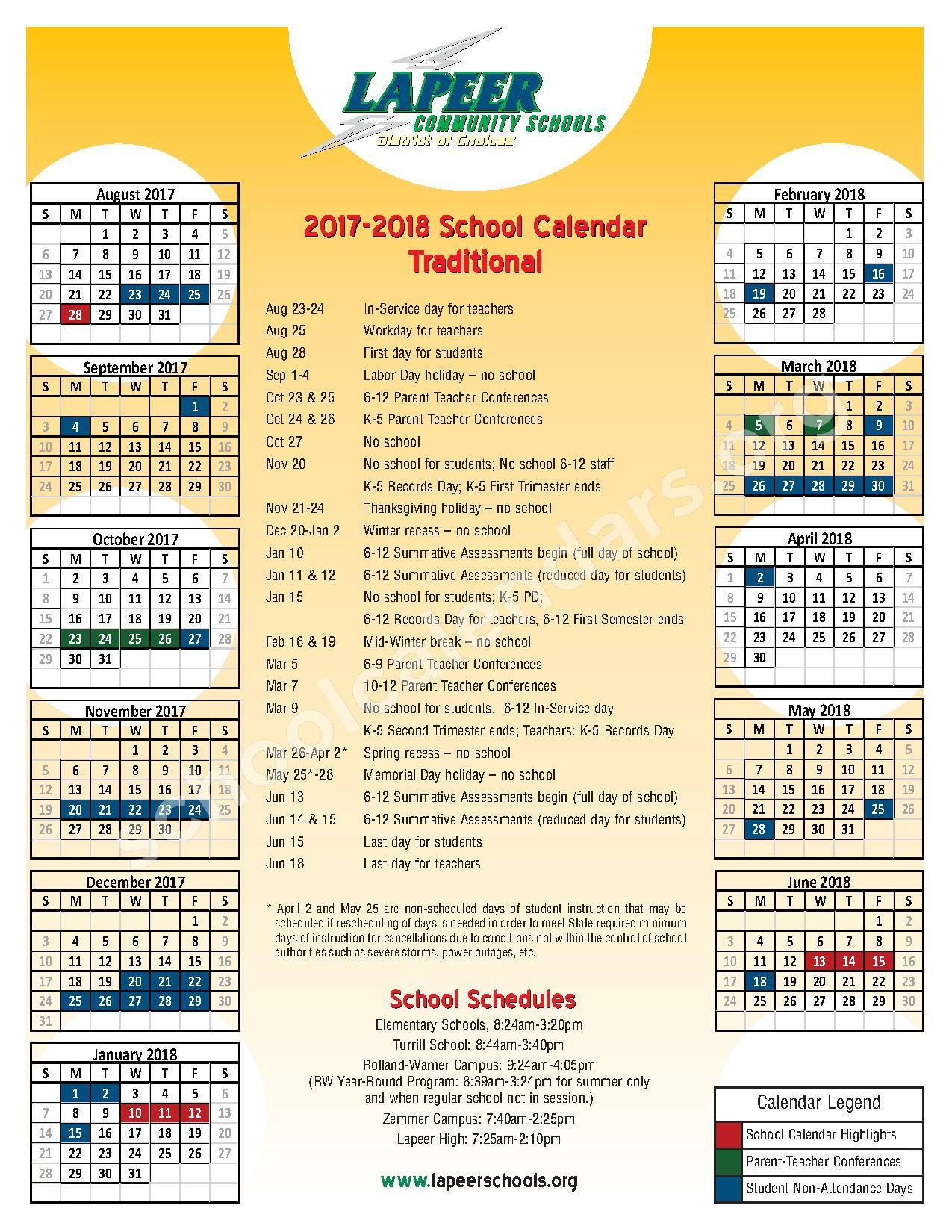 2017 - 2018 Traditional School Calendar – Lapeer Community Schools – page 1
