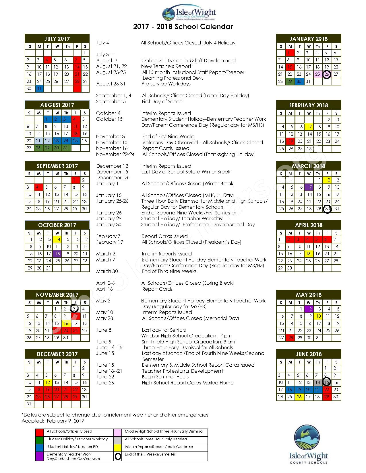 2017 - 2018 School Calendar – Isle of Wight County Public Schools – page 1