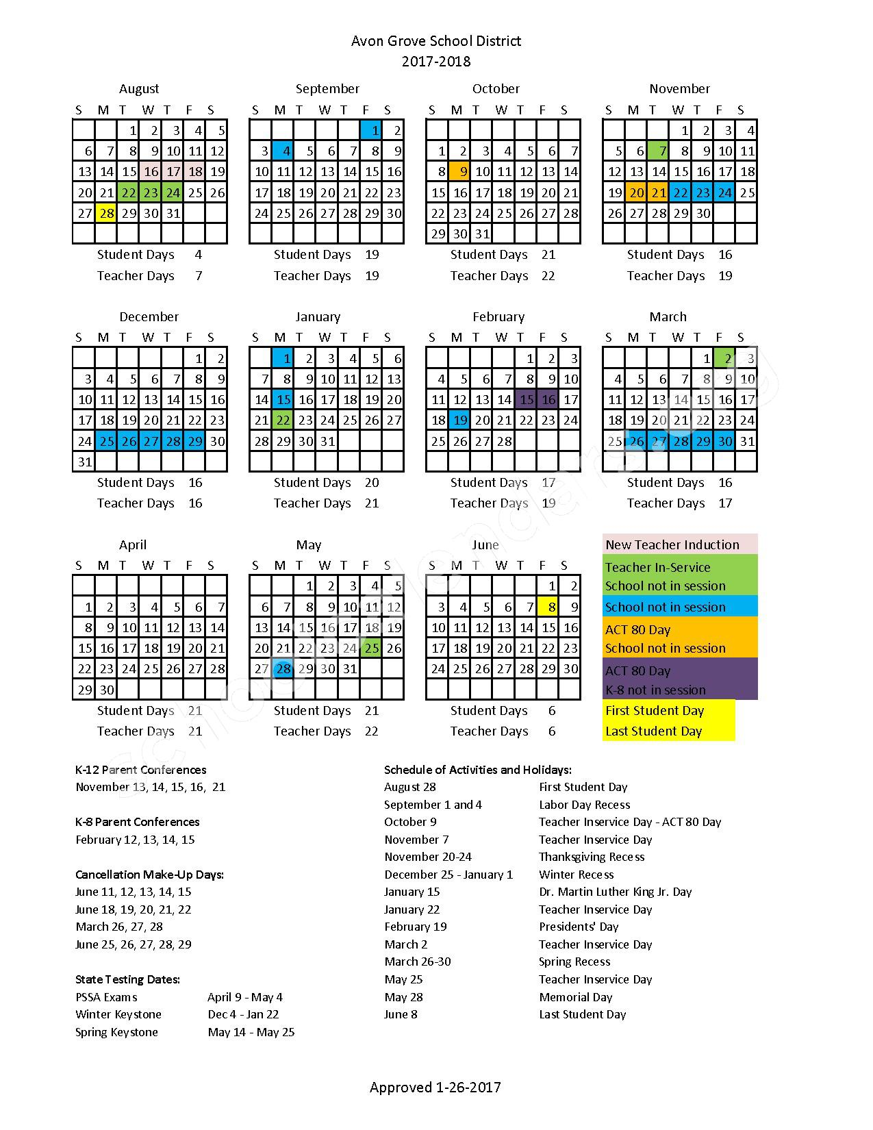 2017 - 2018 School Calendar – Avon Grove School District – page 1