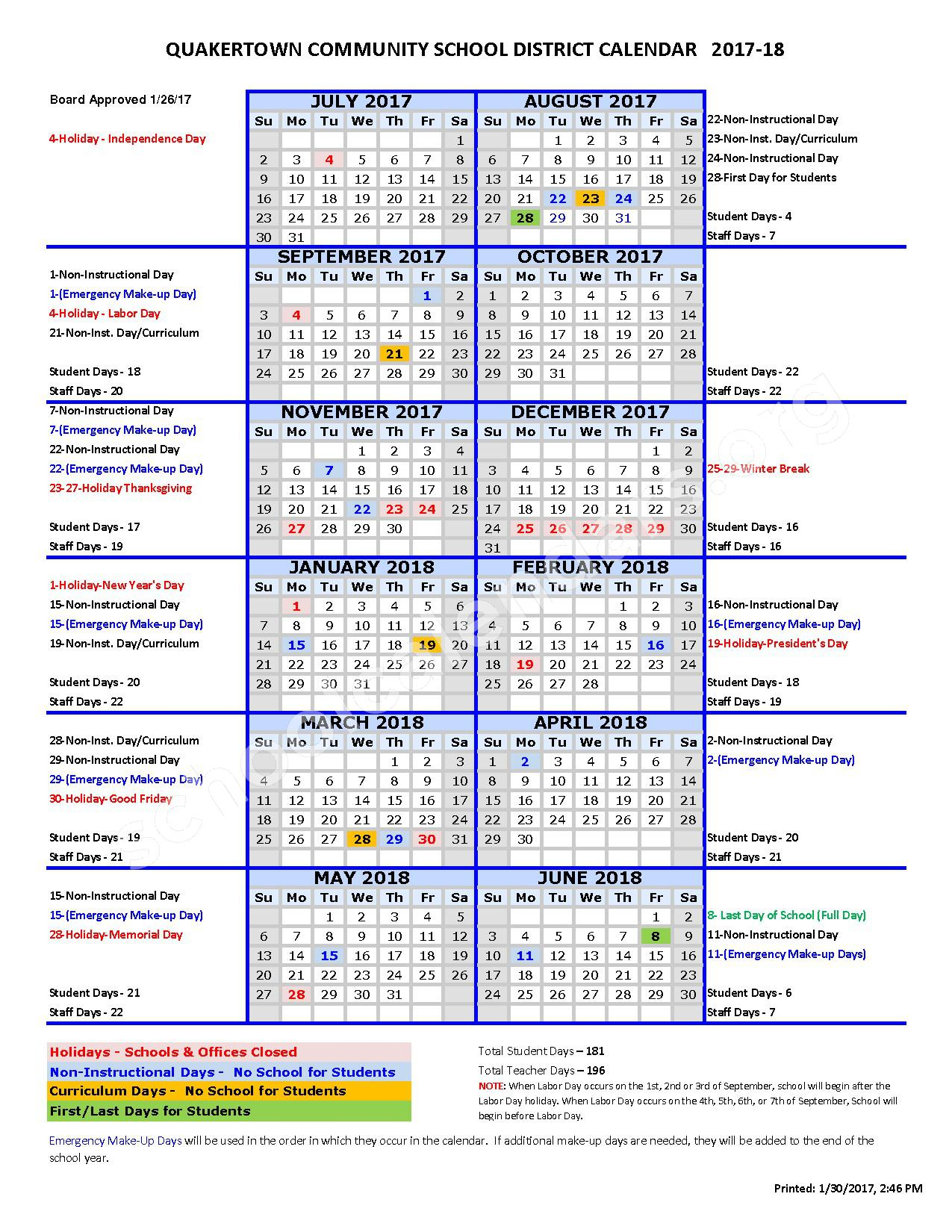 2017 - 2018 School Calendar – Quakertown Community School District – page 1
