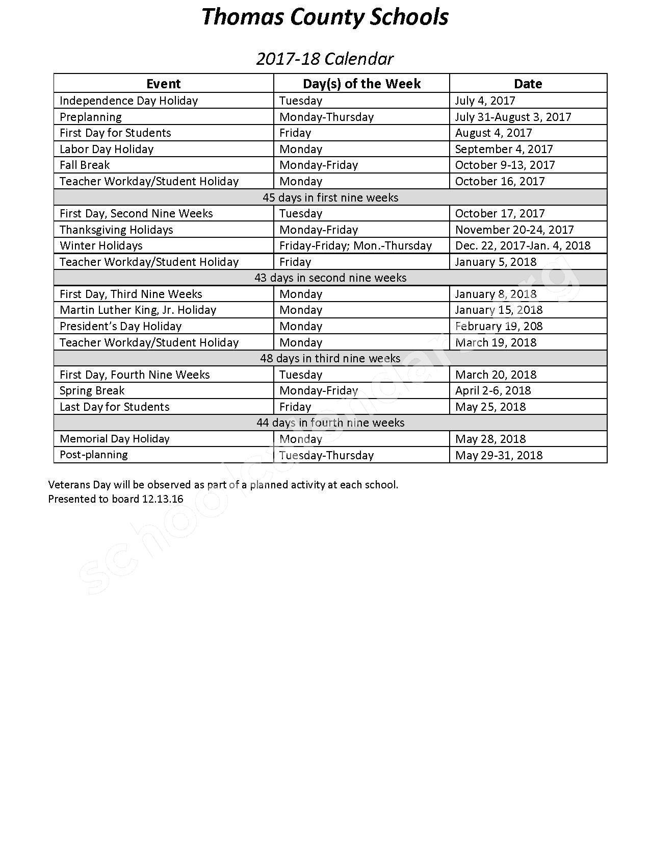 School Year Calendar, 2017 - 2018 – Thomas County School District – page 1