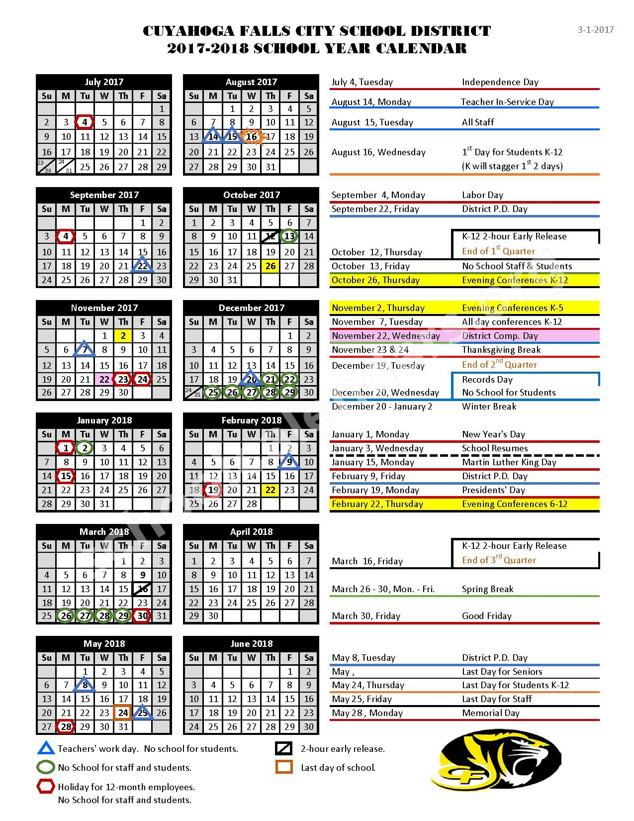 2017 - 2018 Academic Calendar – Cuyahoga Falls City School District – page 1