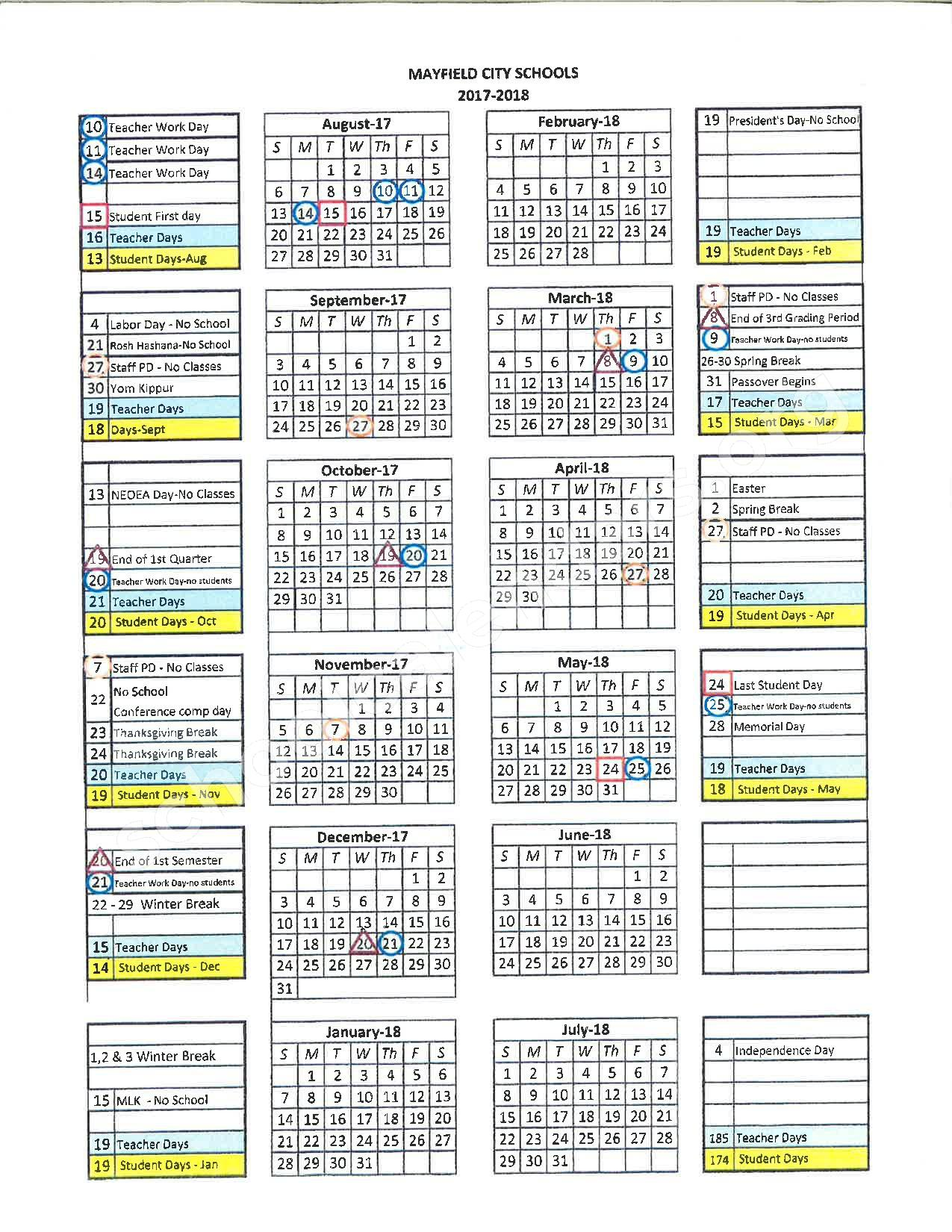 2017 - 2018 District Calendar – Mayfield City Schools – page 1