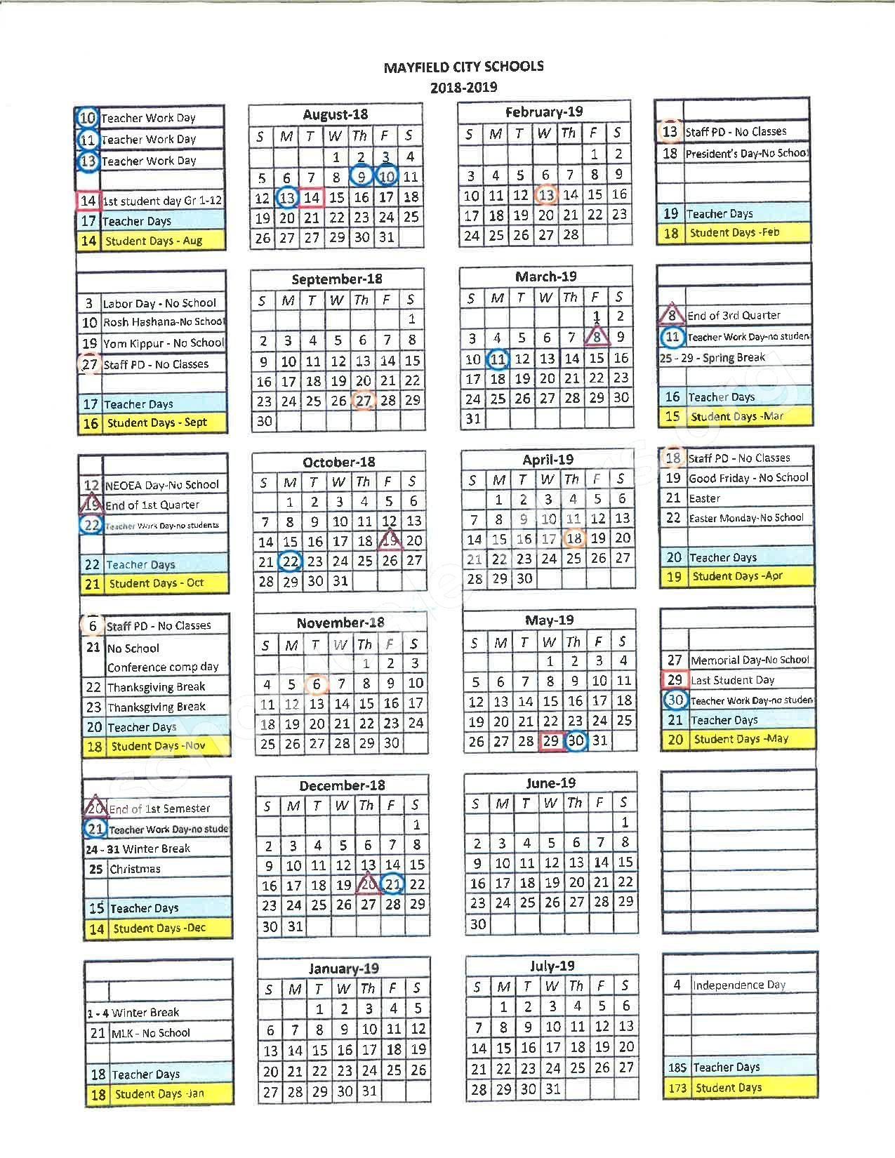 2018 - 2019 District Calendar – Mayfield City Schools – page 1