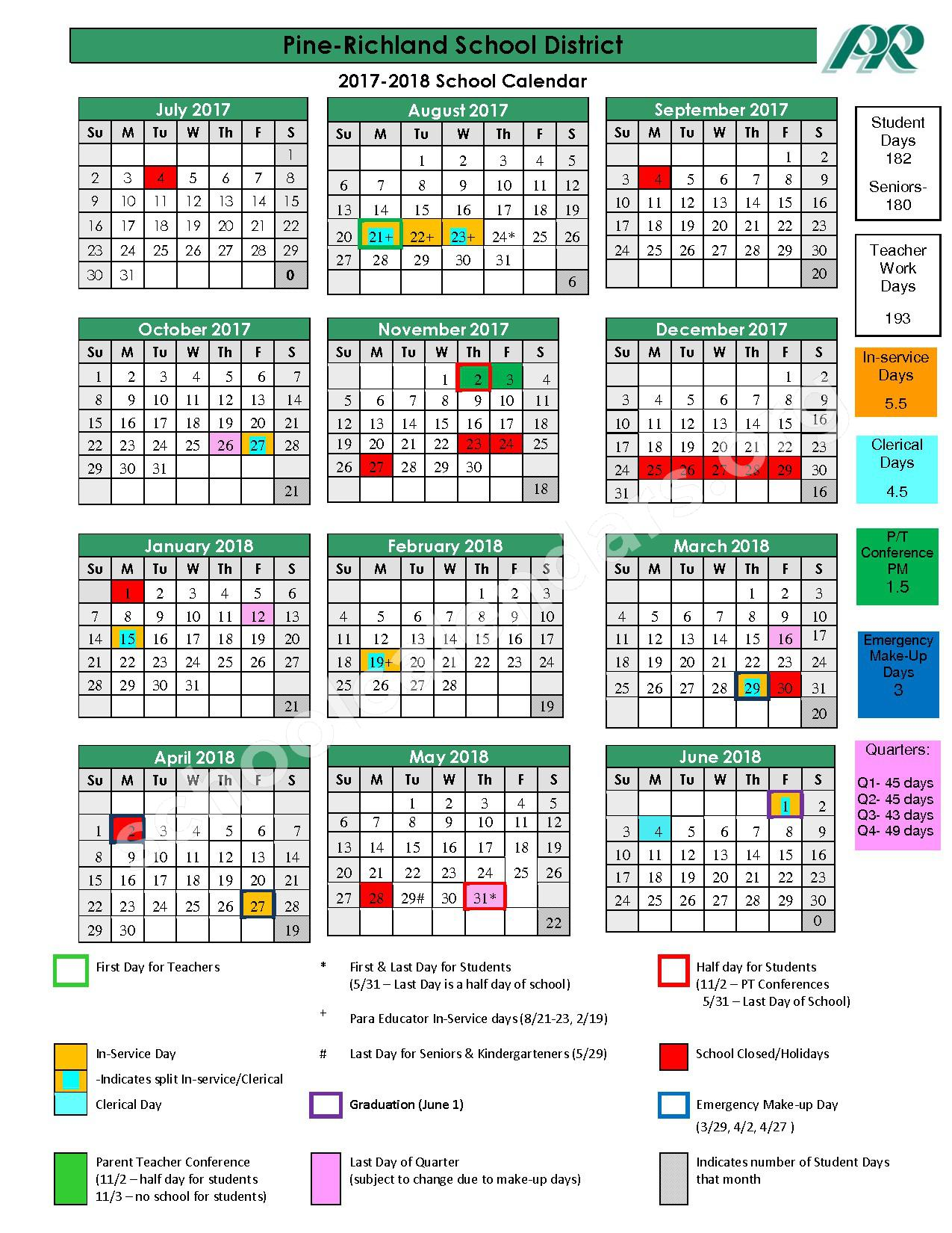 2017 - 2018 School Calendar – Pine-Richland School District – page 1