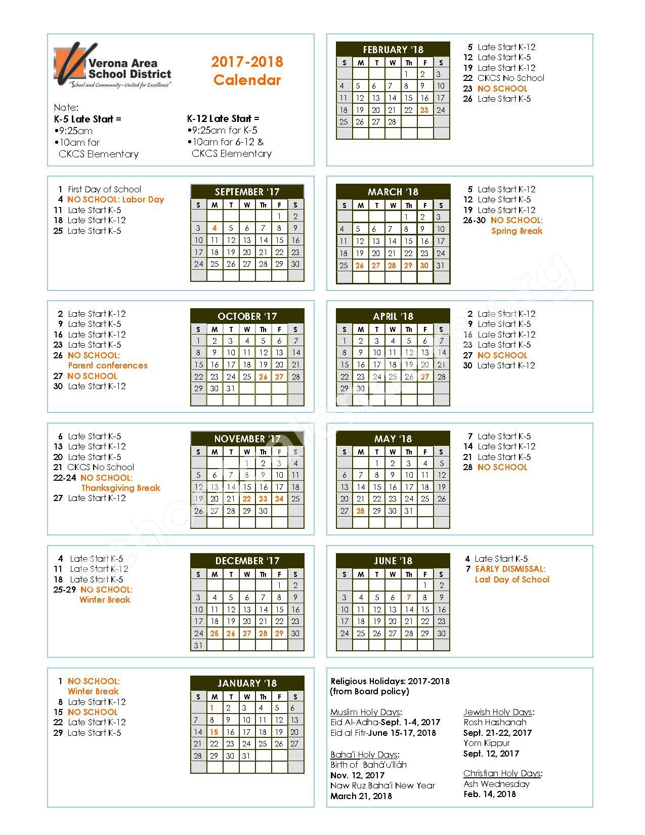 VASD 2017 - 2018 Calendar – Verona Area School District – page 1
