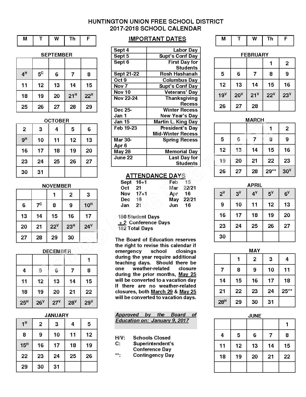 2017 - 2018 Huntington UFSD Calendar – Huntington Union Free School District – page 1