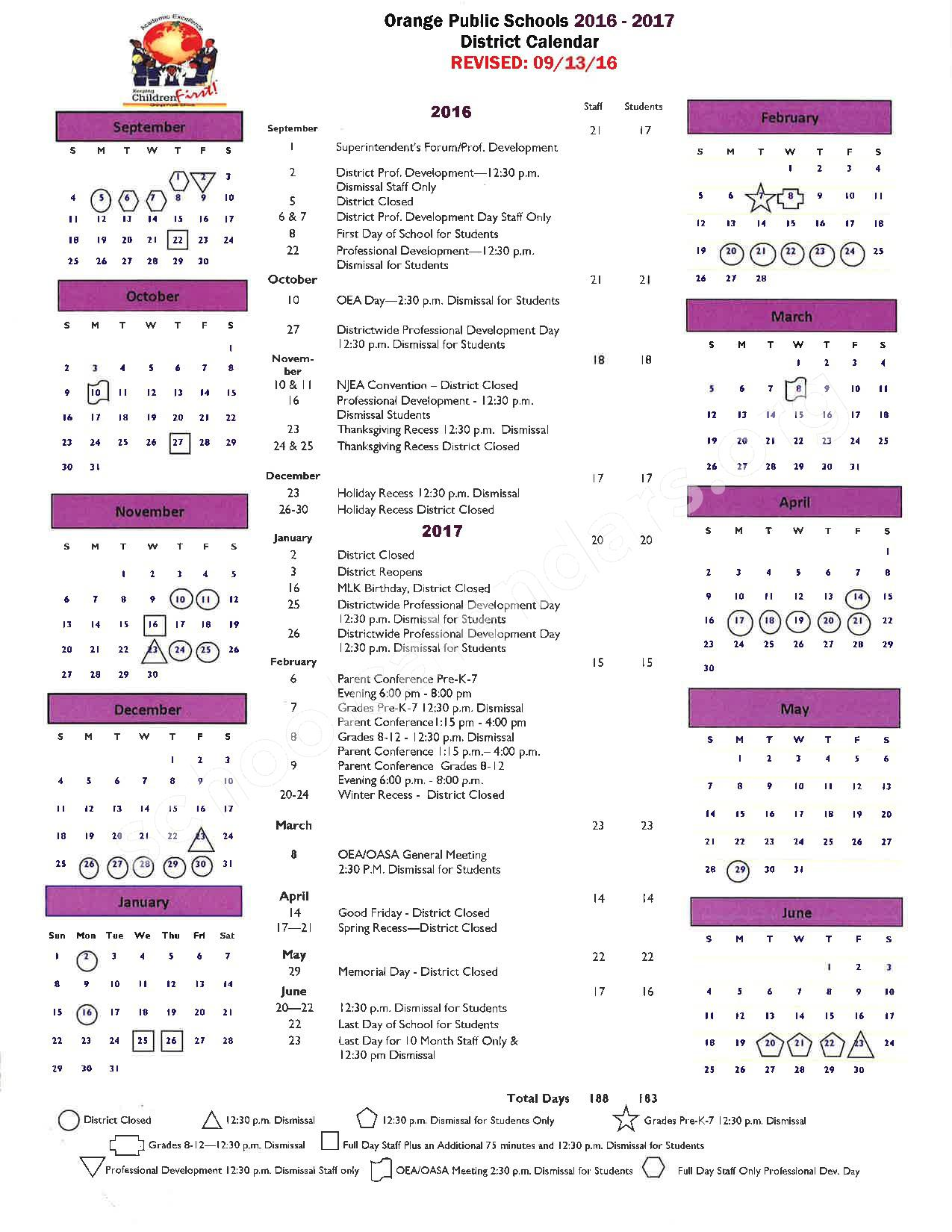2016 - 2017 District Calendar – City of Orange Township Public Schools – page 1