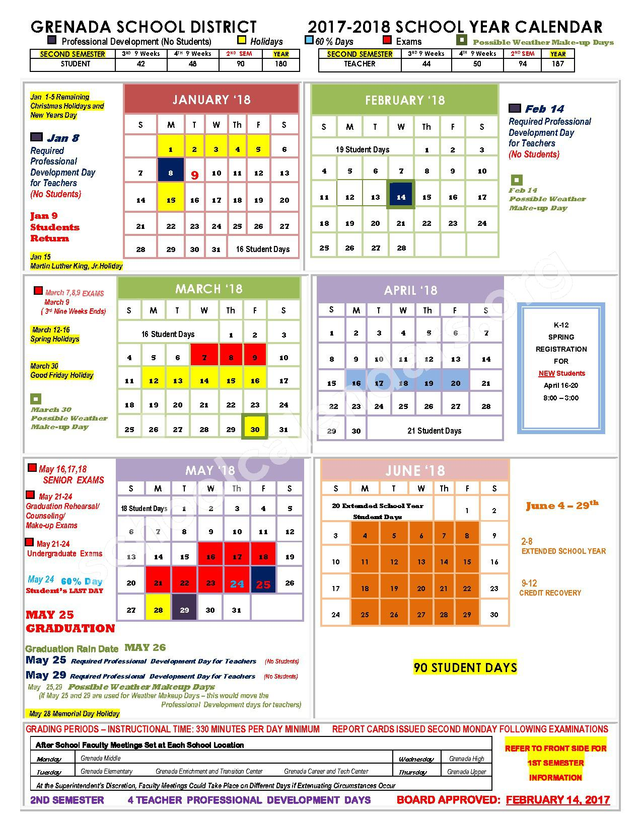 School Calendar 2018 Brunei : Grenada school district calendars ms
