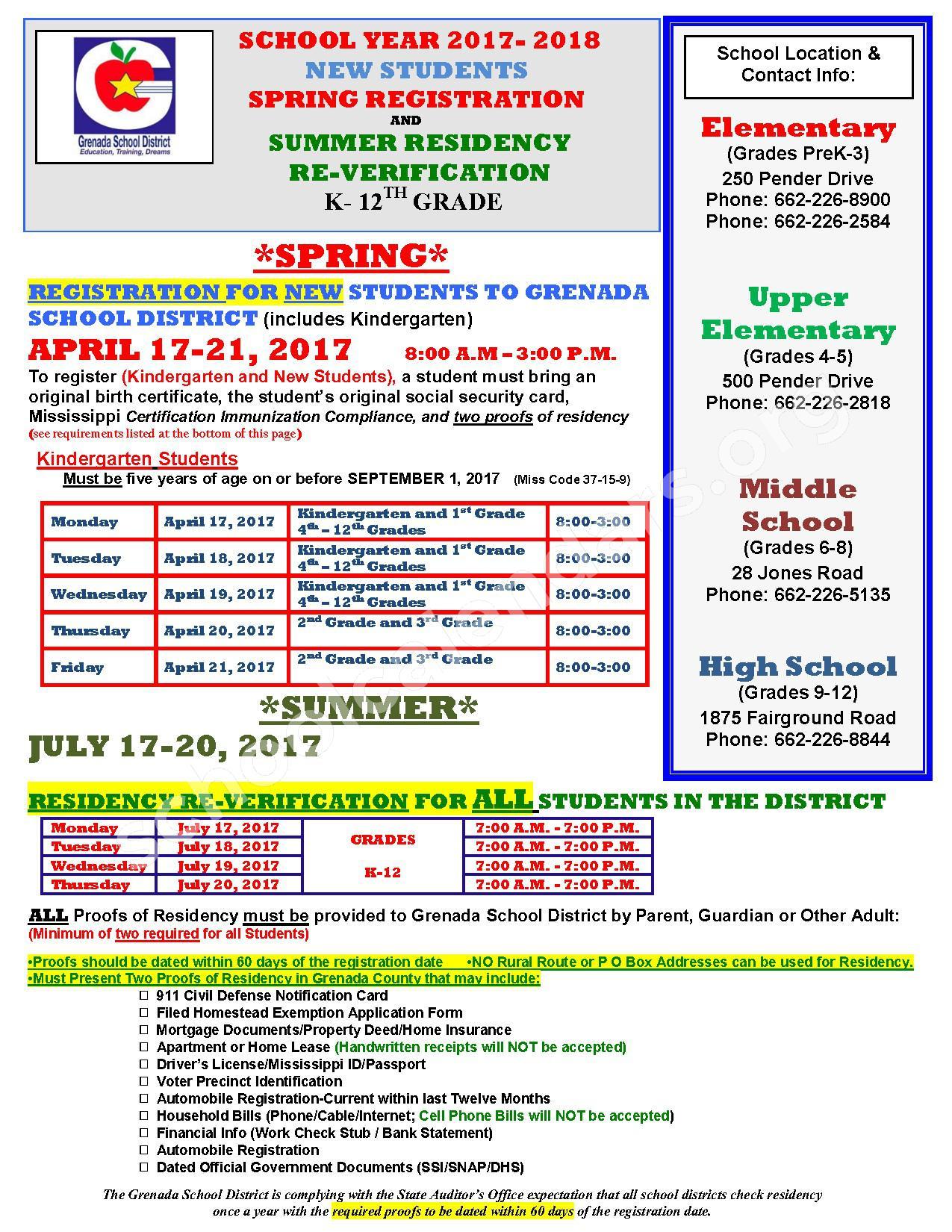 2017 - 2018 School Calendar – Grenada School District – page 1