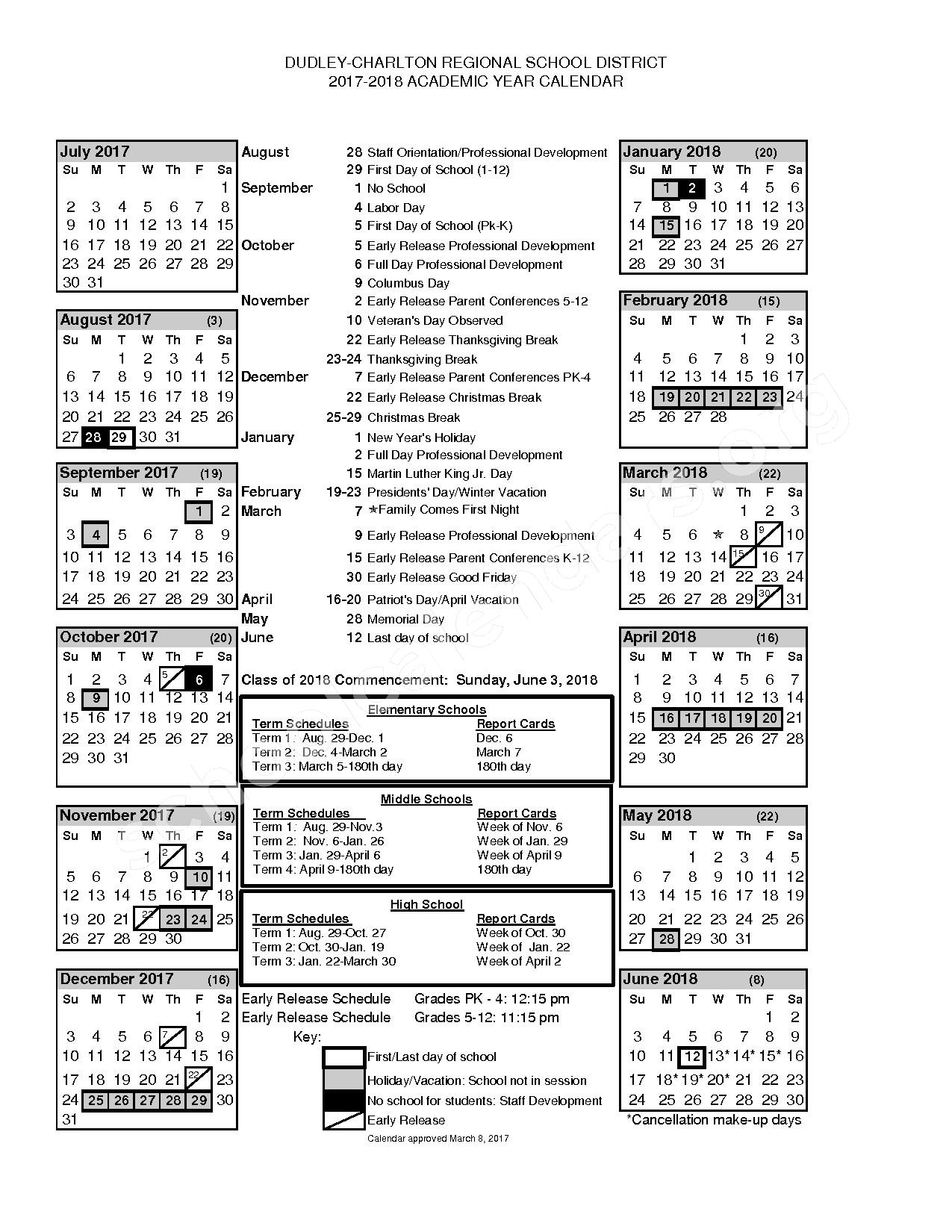 2017 - 2018 District Calendar – Dudley-Charlton Regional School District – page 1