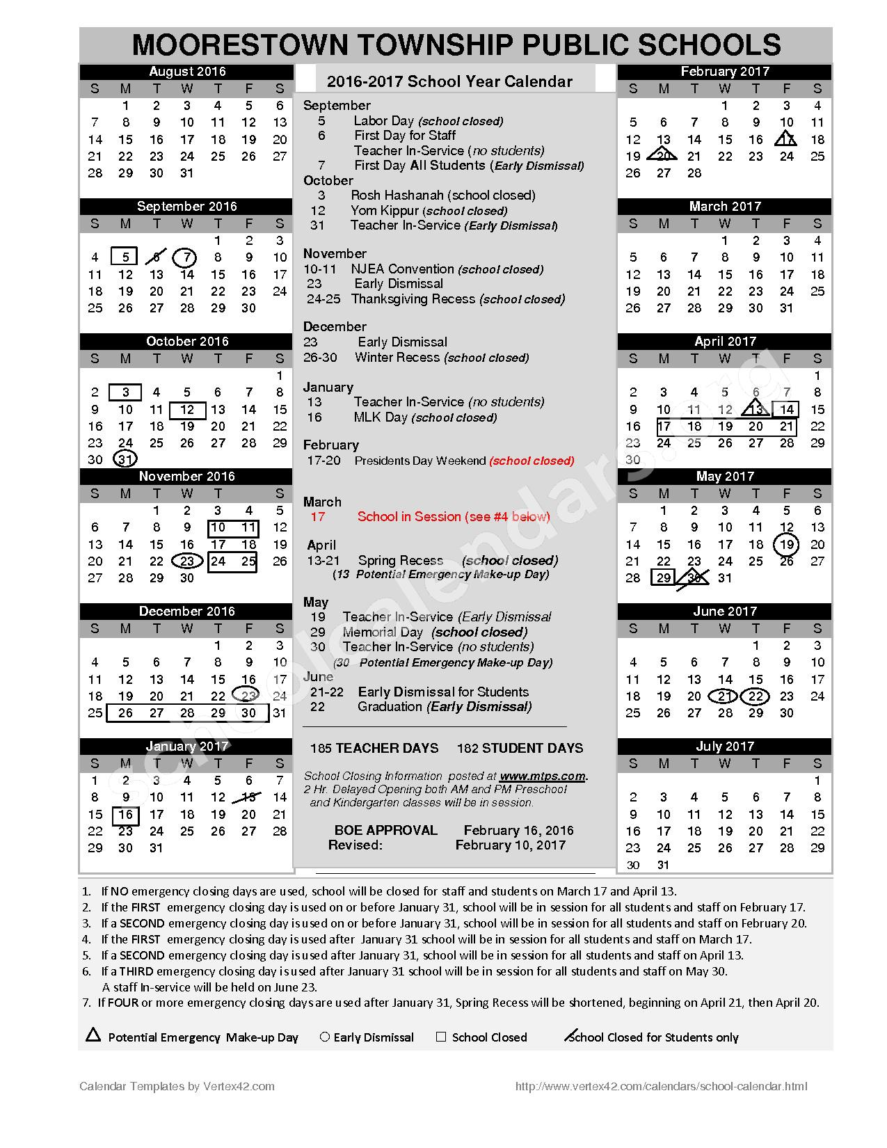 2016 - 2017 District Calendar (Revised) – Moorestown Township Public Schools – page 1