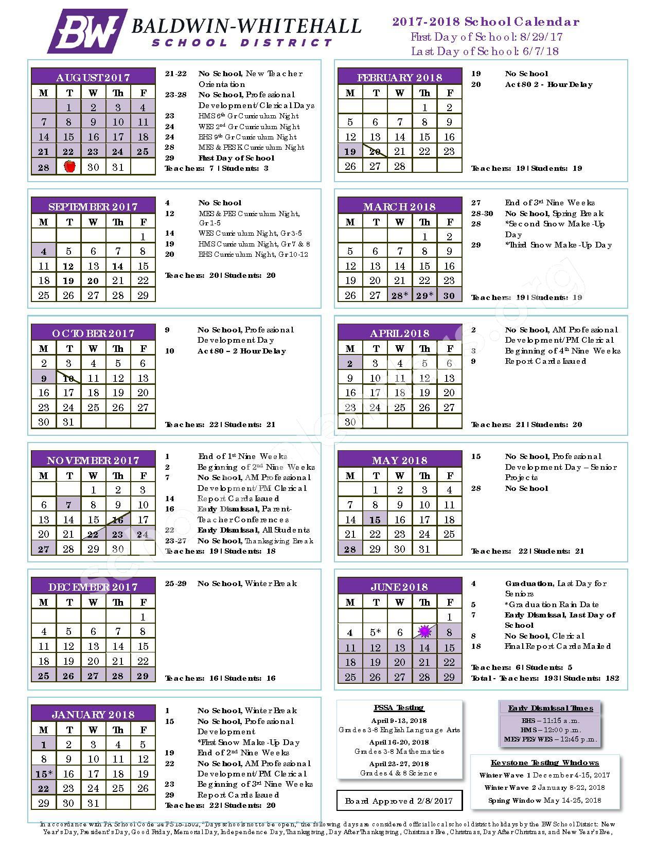 2017 - 2018 District Calendar – Baldwin-Whitehall School District – page 1