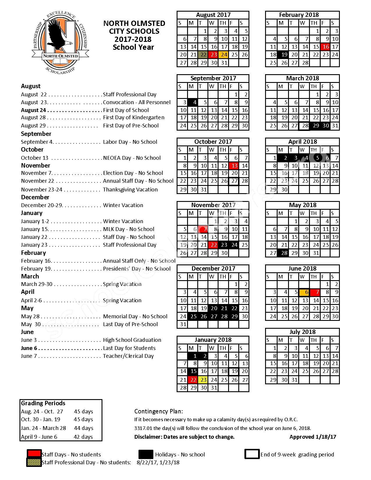 2017 - 2018 School Calendar – North Olmsted City Schools – page 1
