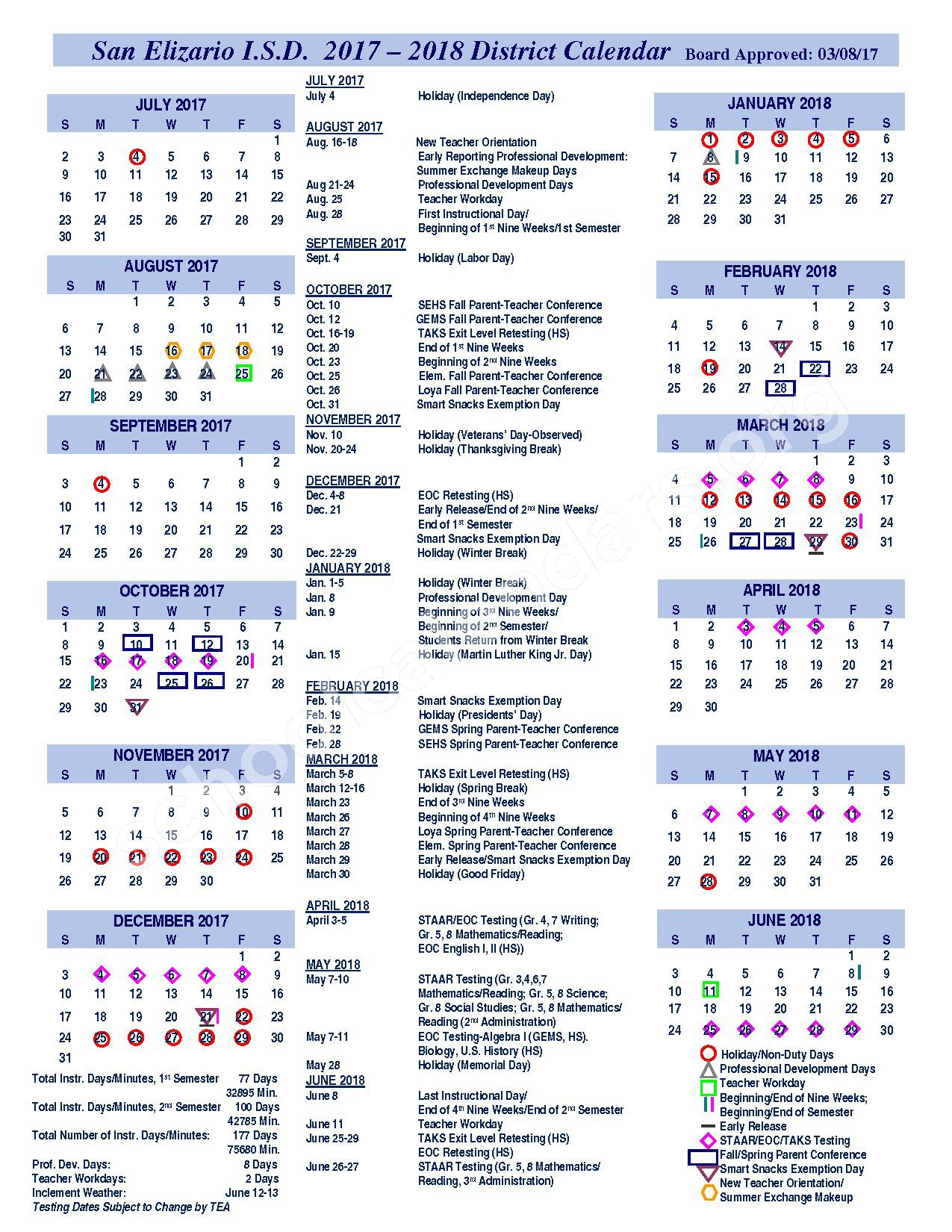 2017 - 2018 District Calendar – San Elizario Independent School District – page 1