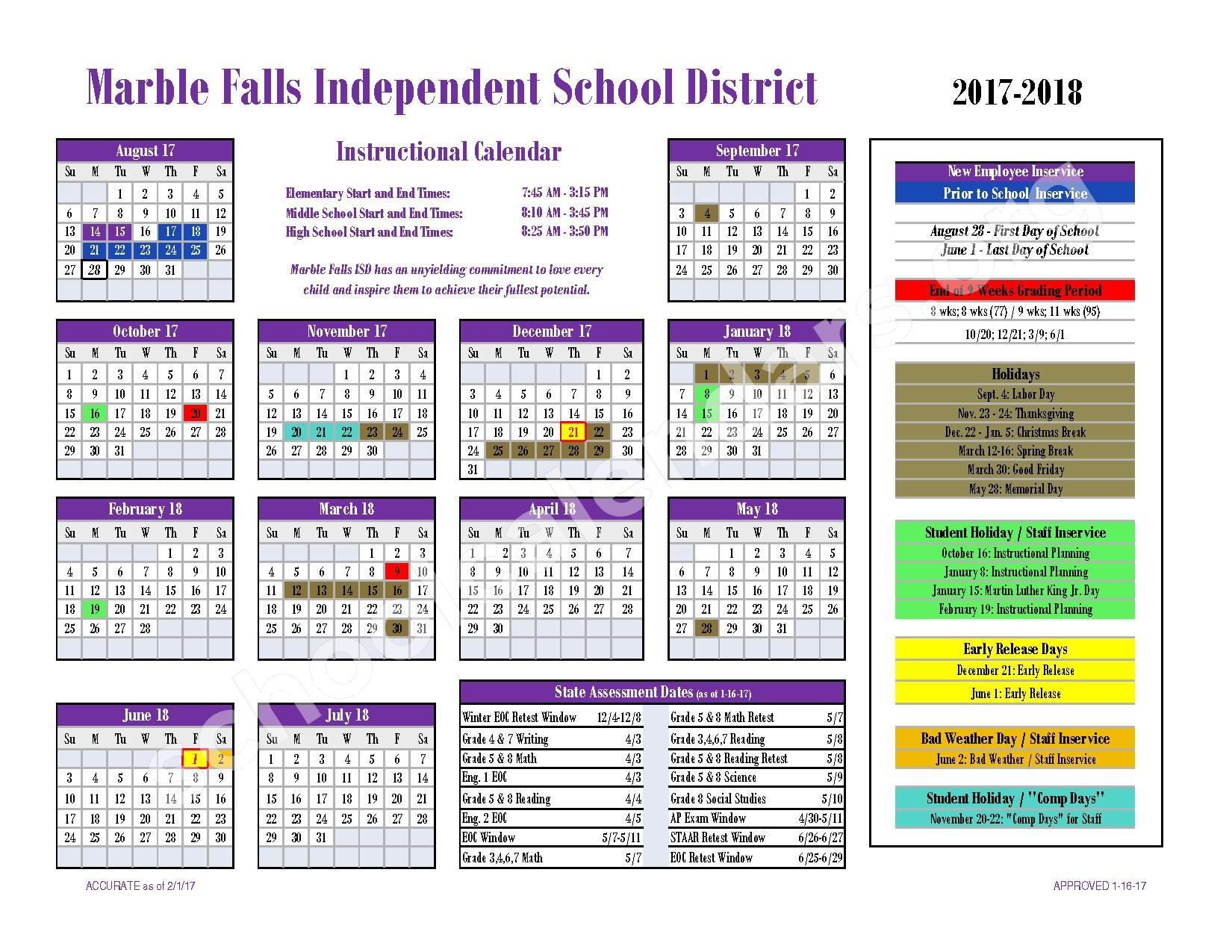 2017 - 2018 District Calendar – Marble Falls Independent School District – page 1