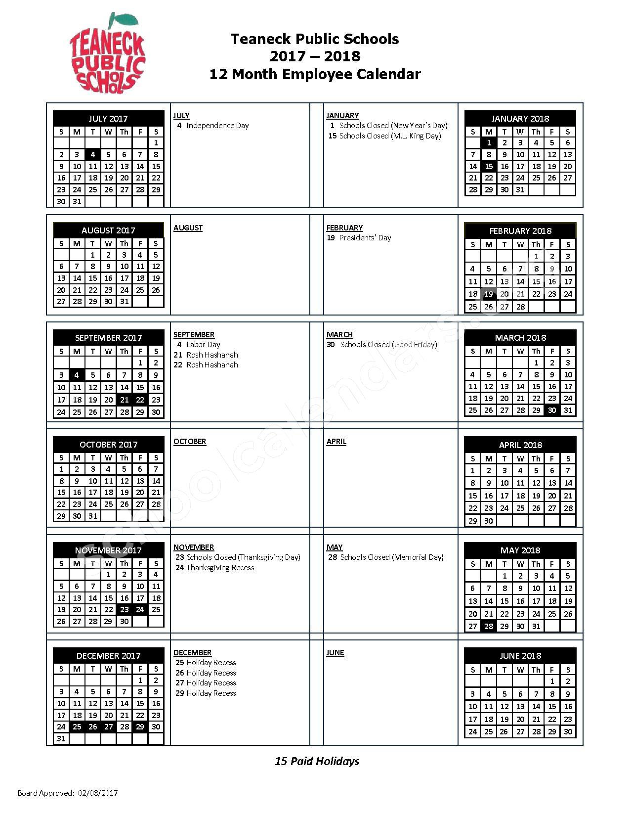 2017 - 2018 School Calendar – Teaneck Public Schools – page 1
