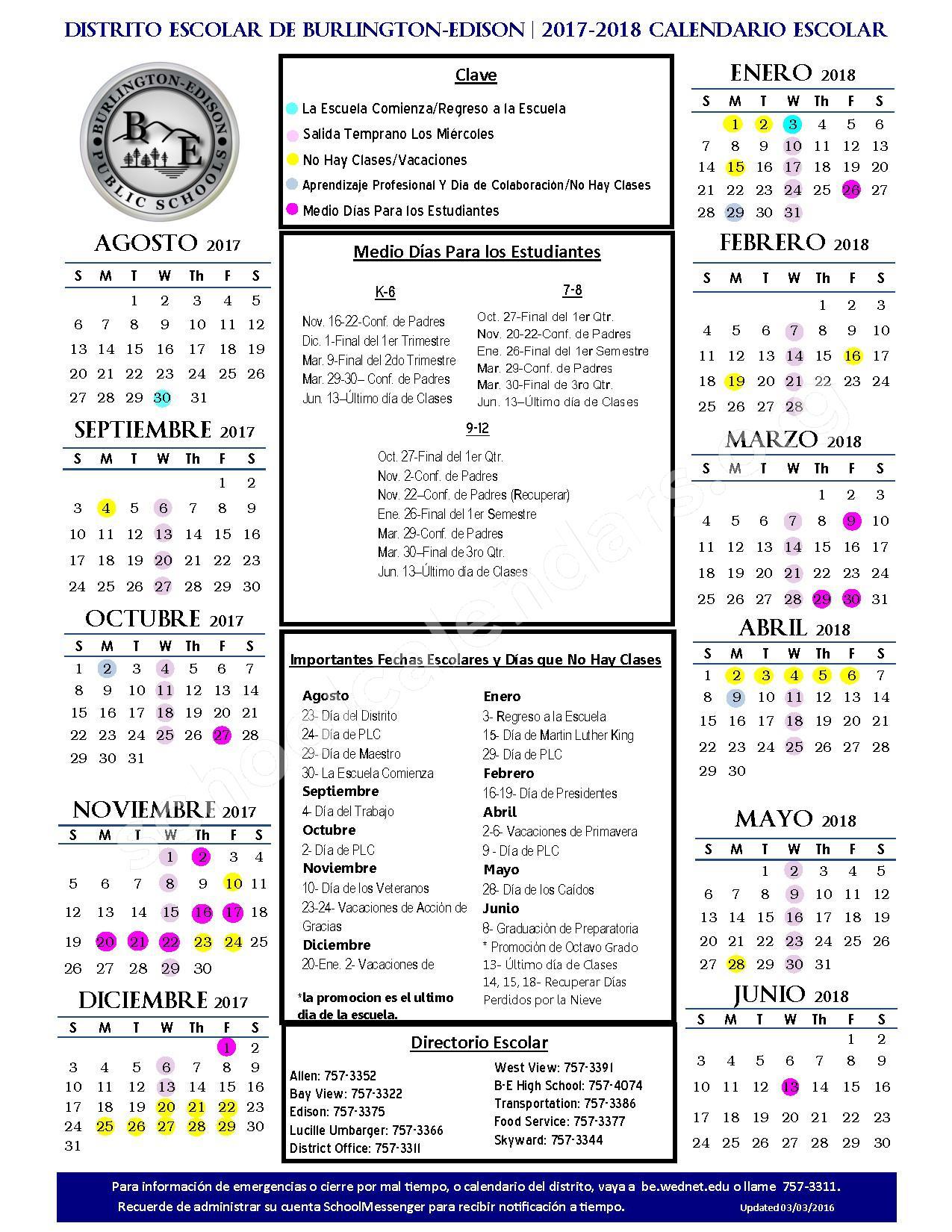 2017 - 2018 Calendario Escolar – Burlington-Edison School District – page 1