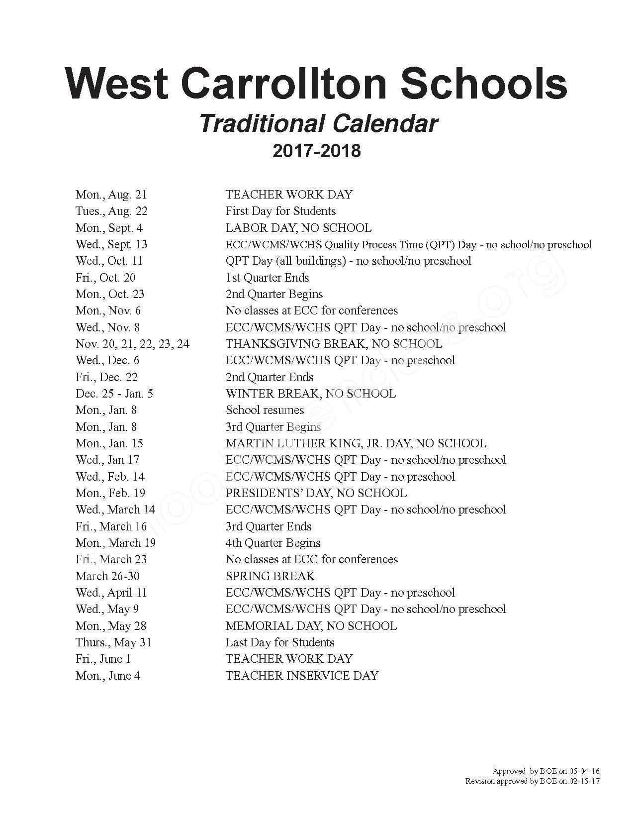 2017 - 2018 School Calendar – West Carrollton City Schools – page 1