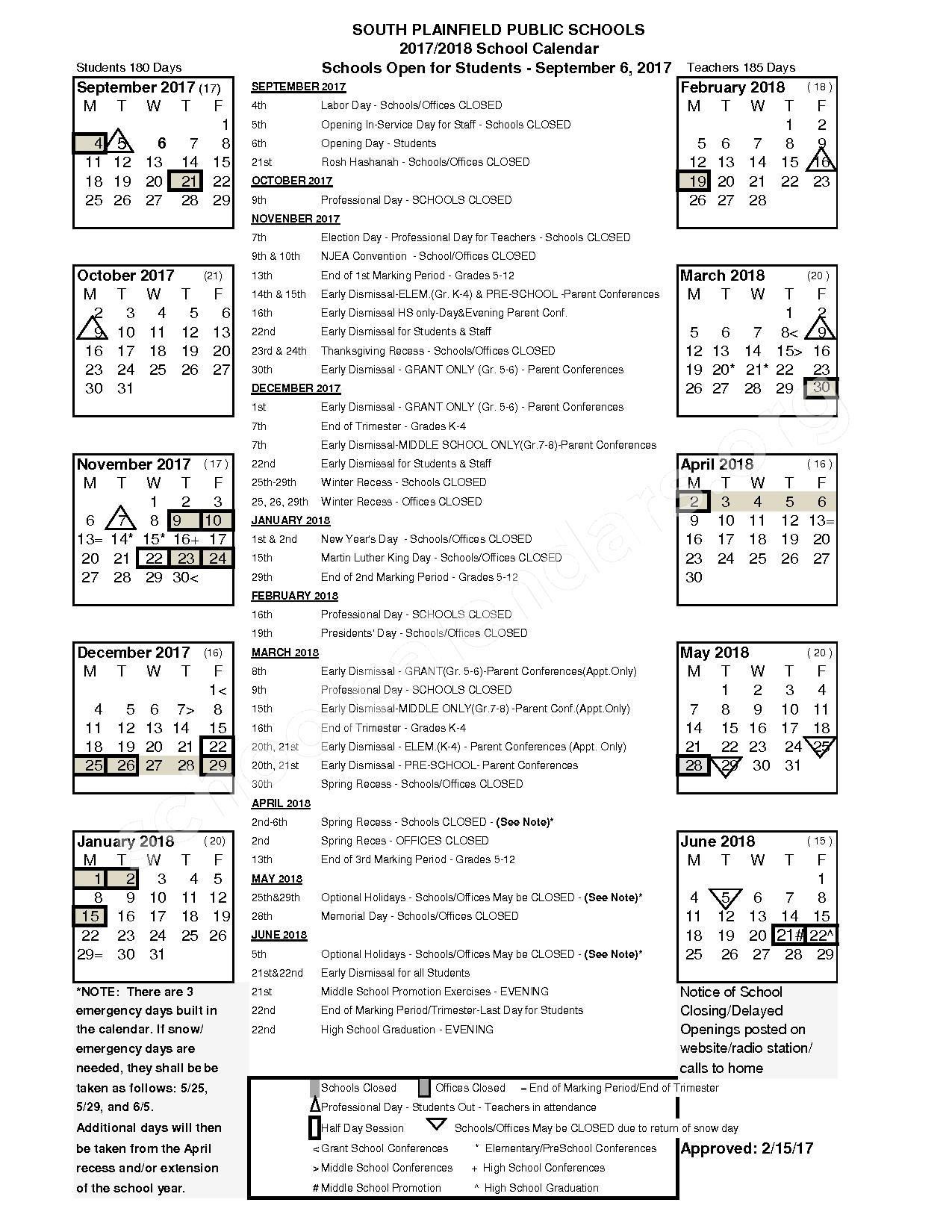 2017 - 2018 District Calendar – South Plainfield Public Schools – page 1