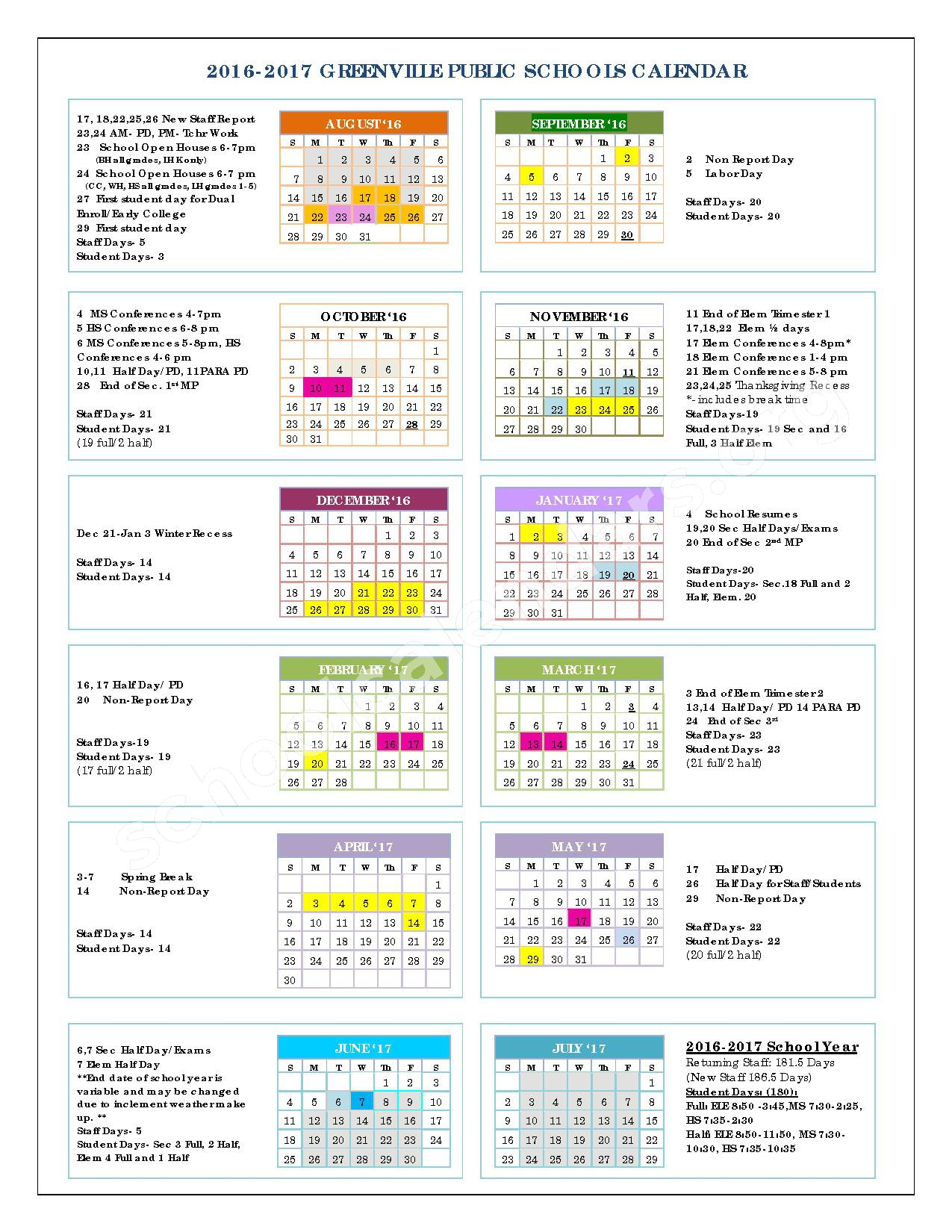2016 - 2017  District Calendar – Greenville Public Schools – page 1