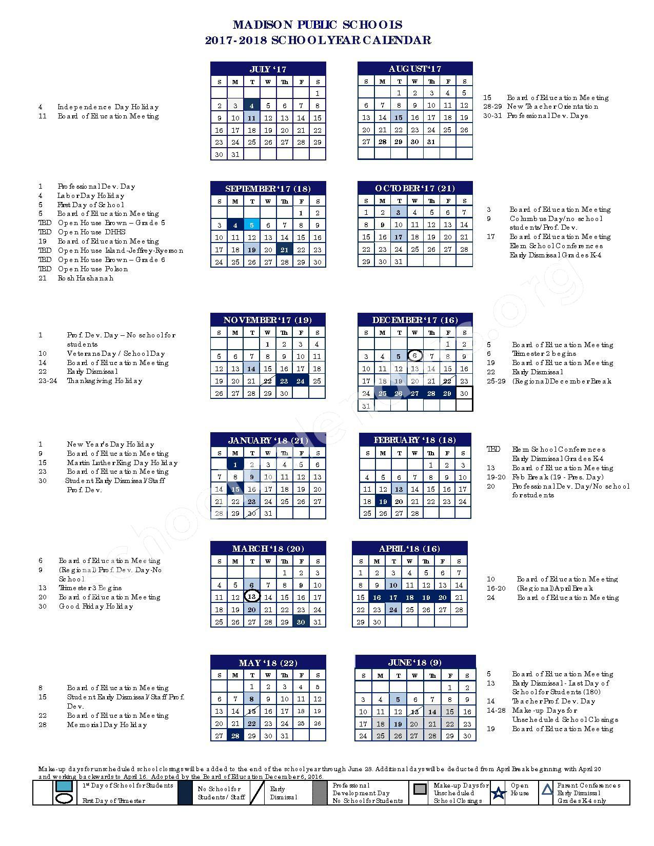 2017 - 2018 District Calendar – Madison Public Schools – page 1