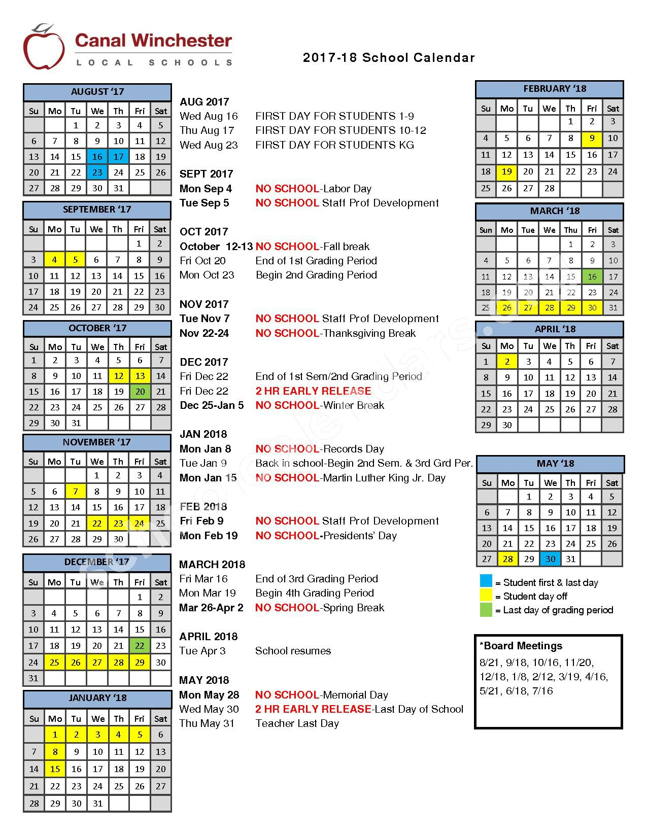2017 - 2018 District Calendar – Canal Winchester Local Schools – page 1