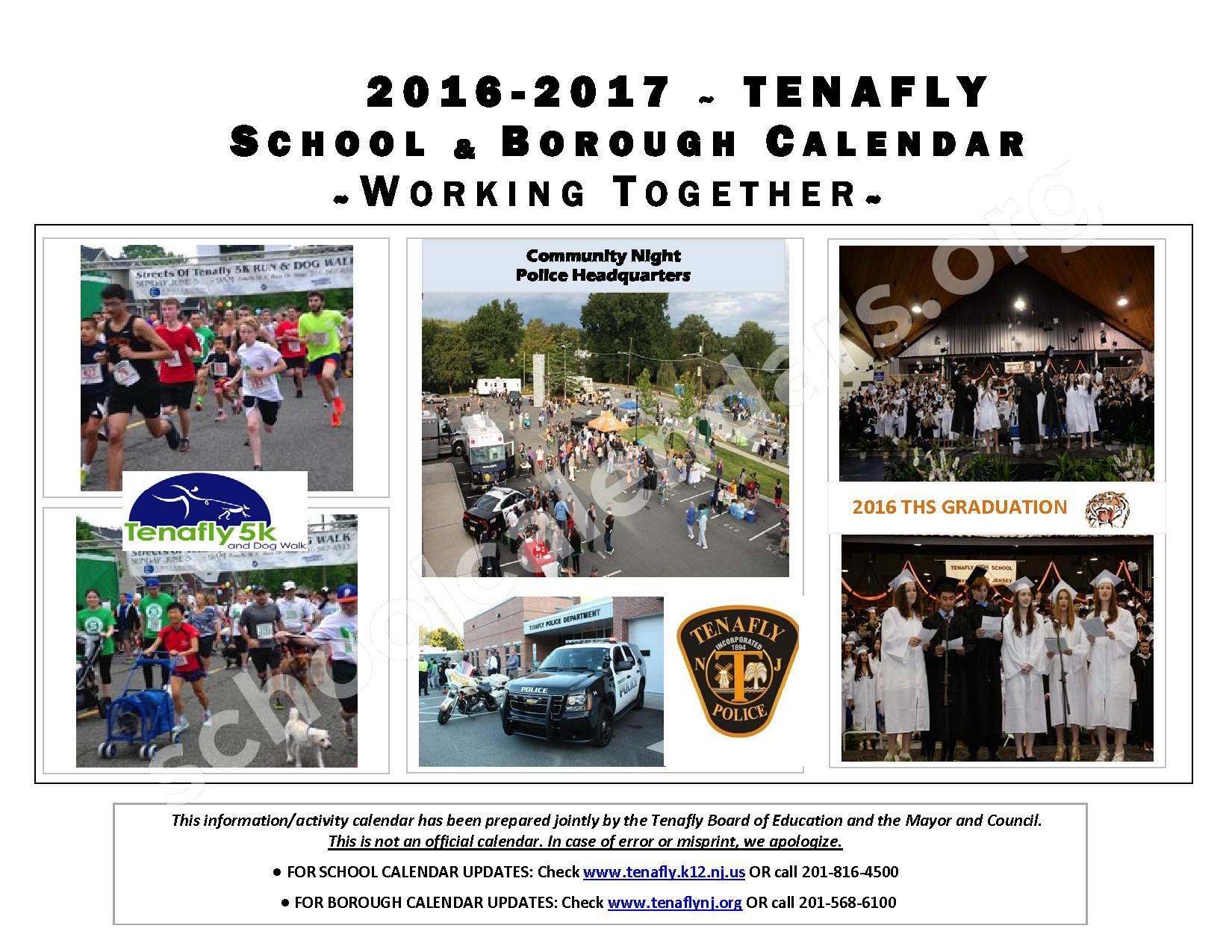 2016 - 2017 District Calendar – Tenafly Public Schools – page 1