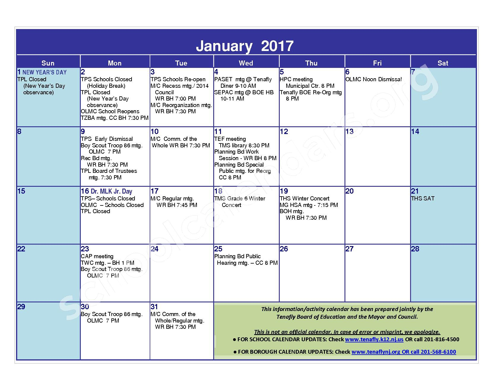 2016 - 2017 District Calendar – Tenafly Public Schools – page 11