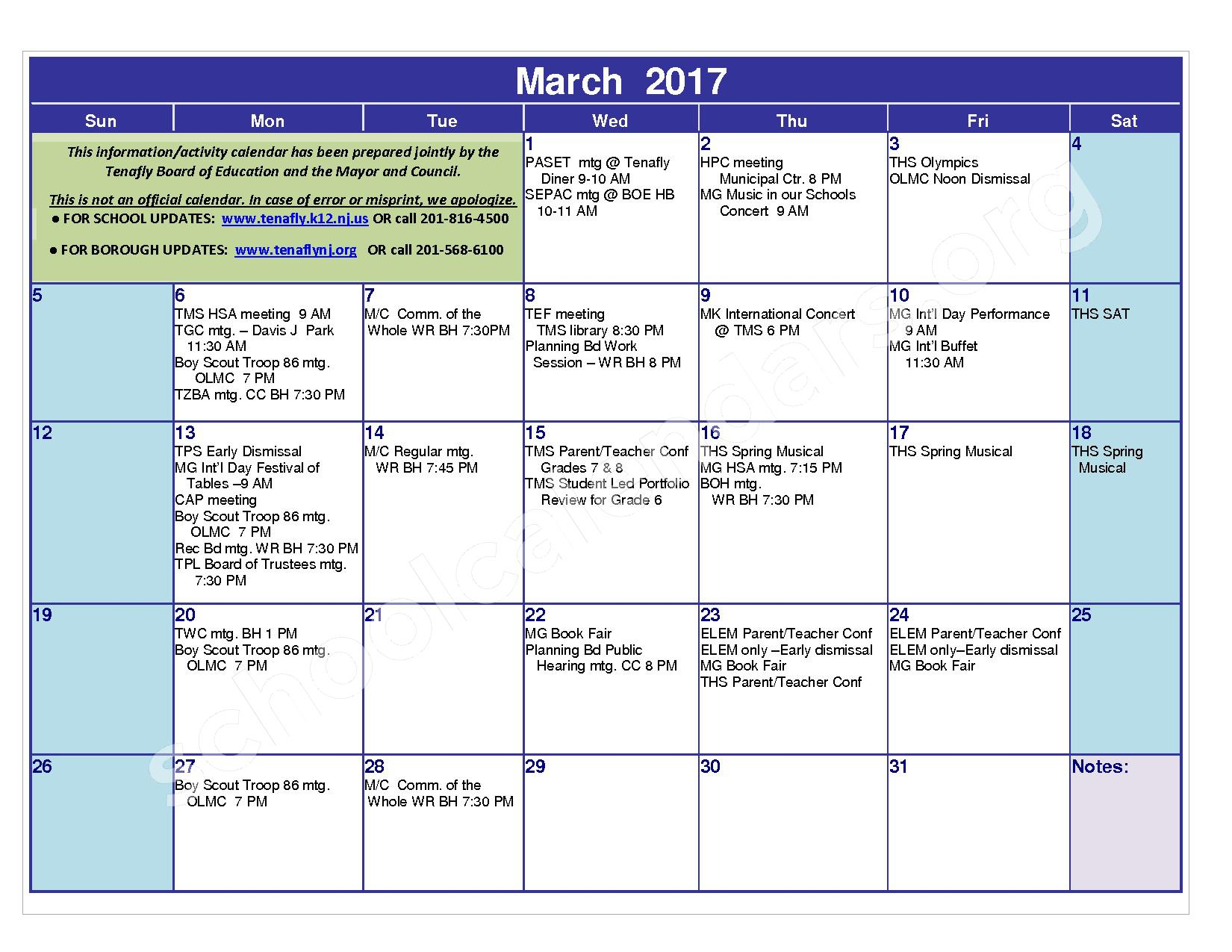 2016 - 2017 District Calendar – Tenafly Public Schools – page 15