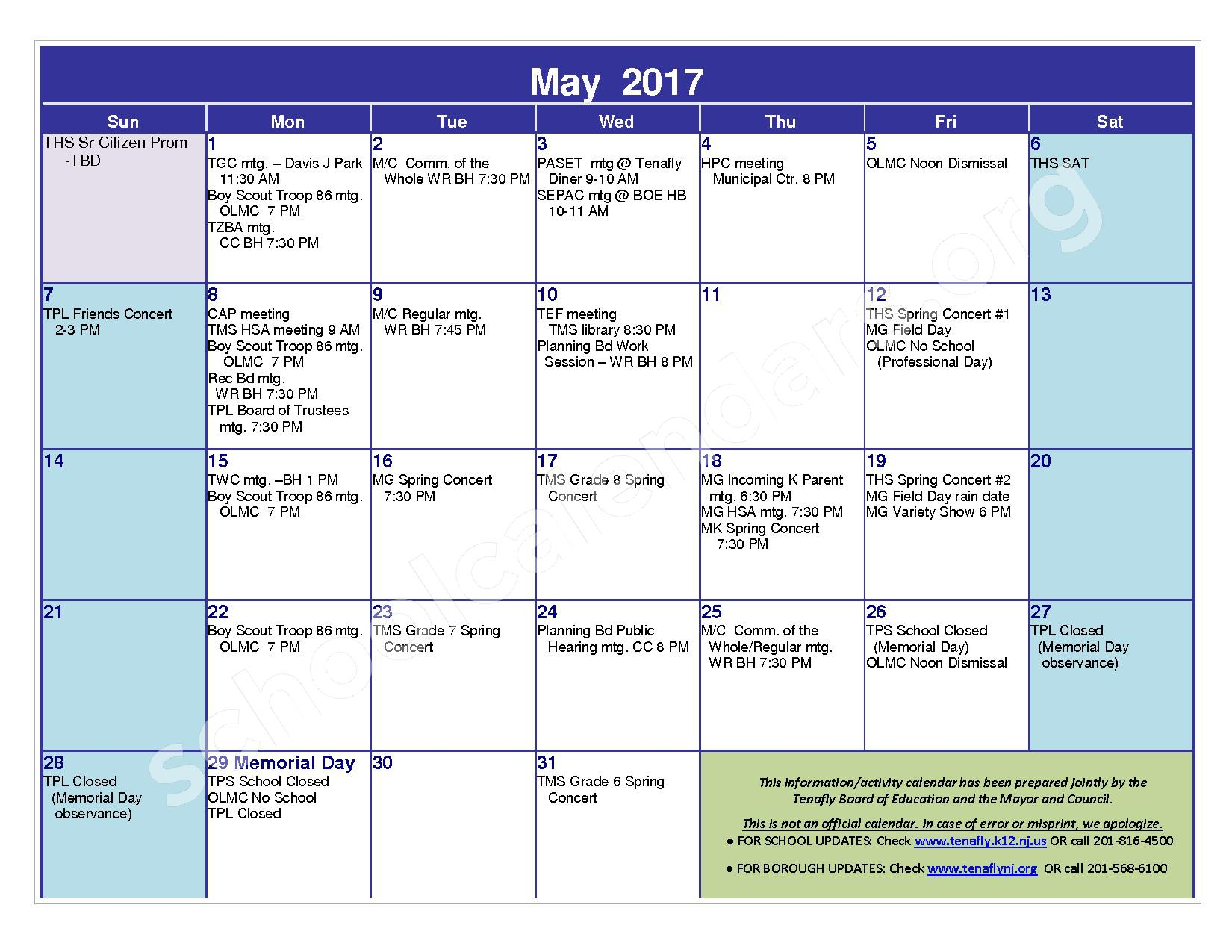 2016 - 2017 District Calendar – Tenafly Public Schools – page 19