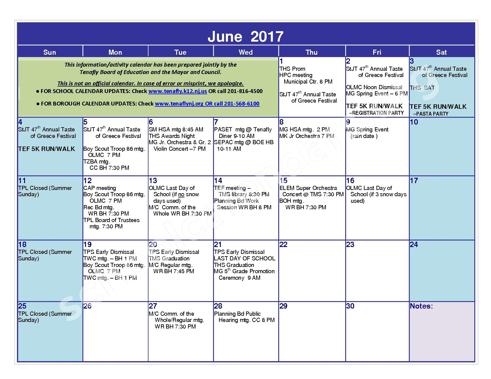 2016 - 2017 District Calendar – Tenafly Public Schools – page 21